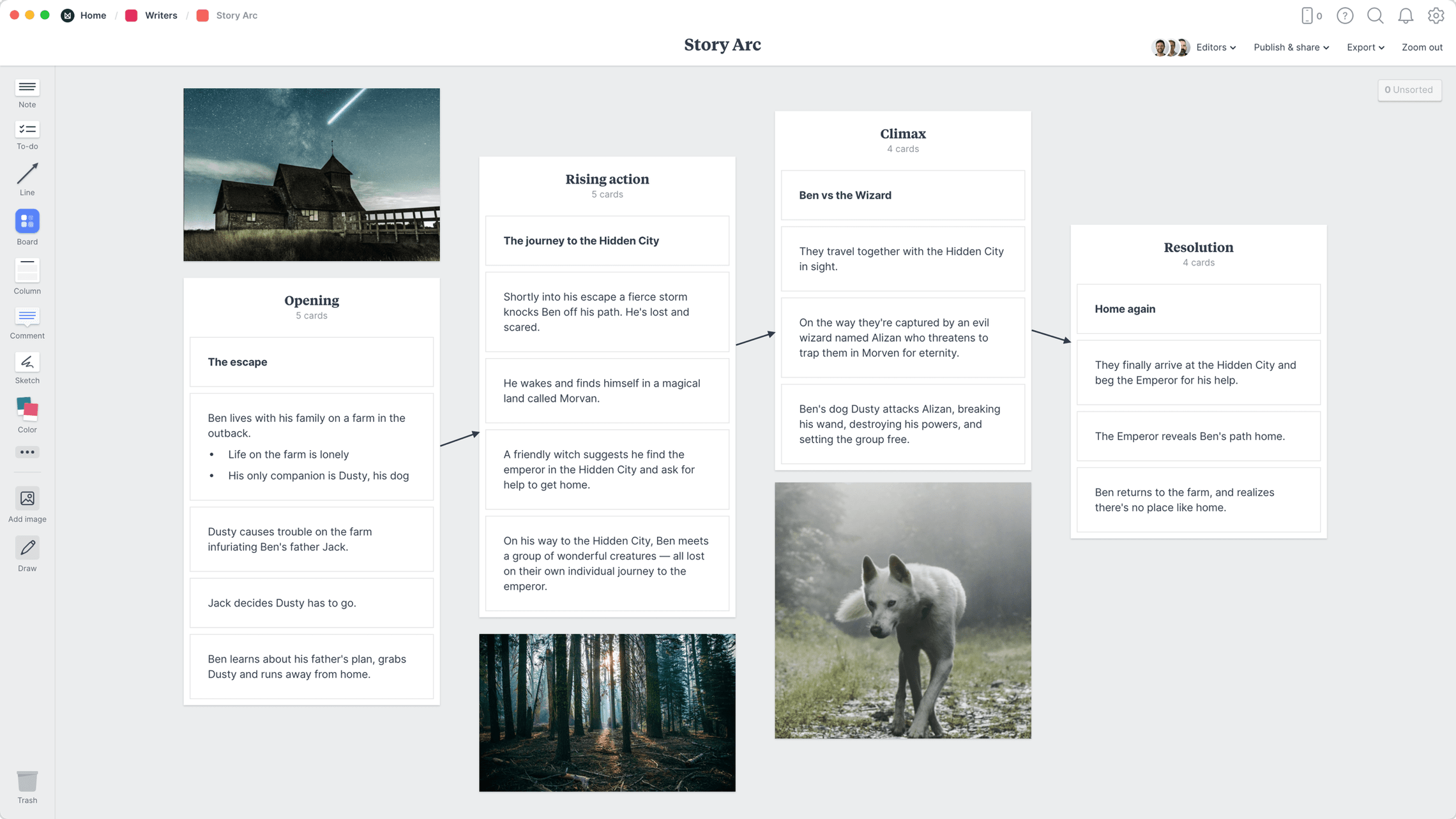 Story Arc Template, within the Milanote app