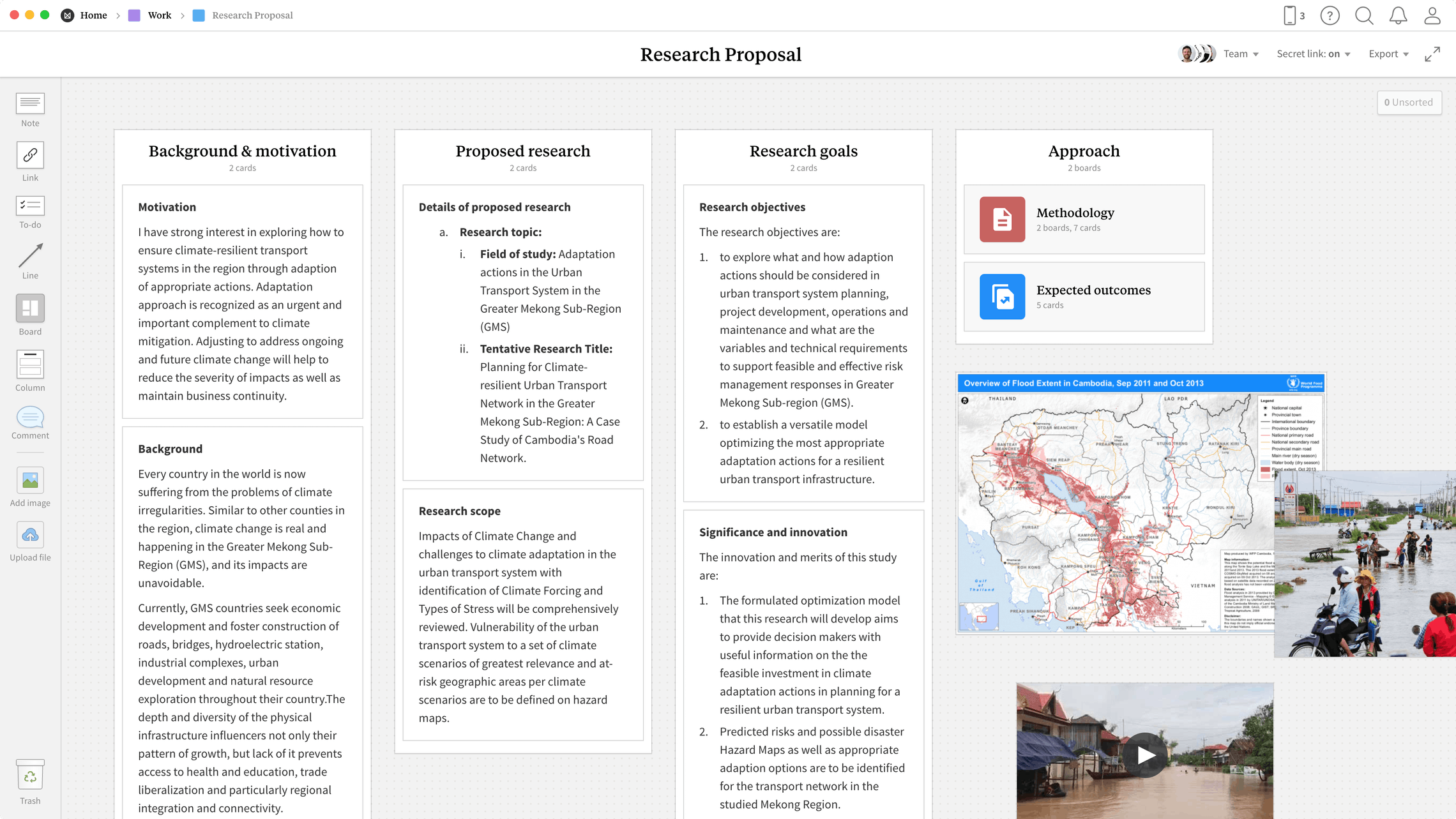 Research Proposal Template, within the Milanote app