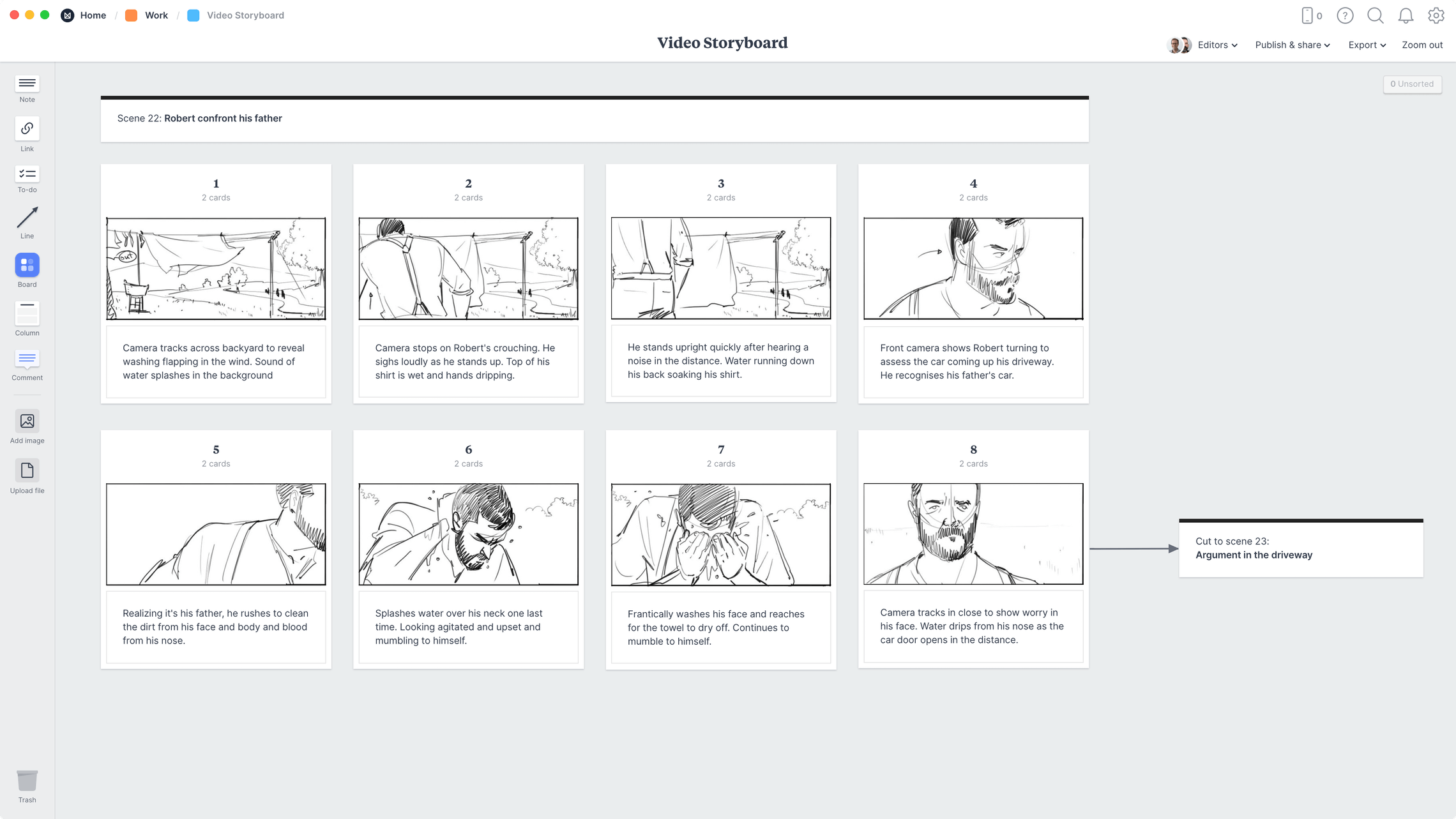 Video Storyboard Template, within the Milanote app