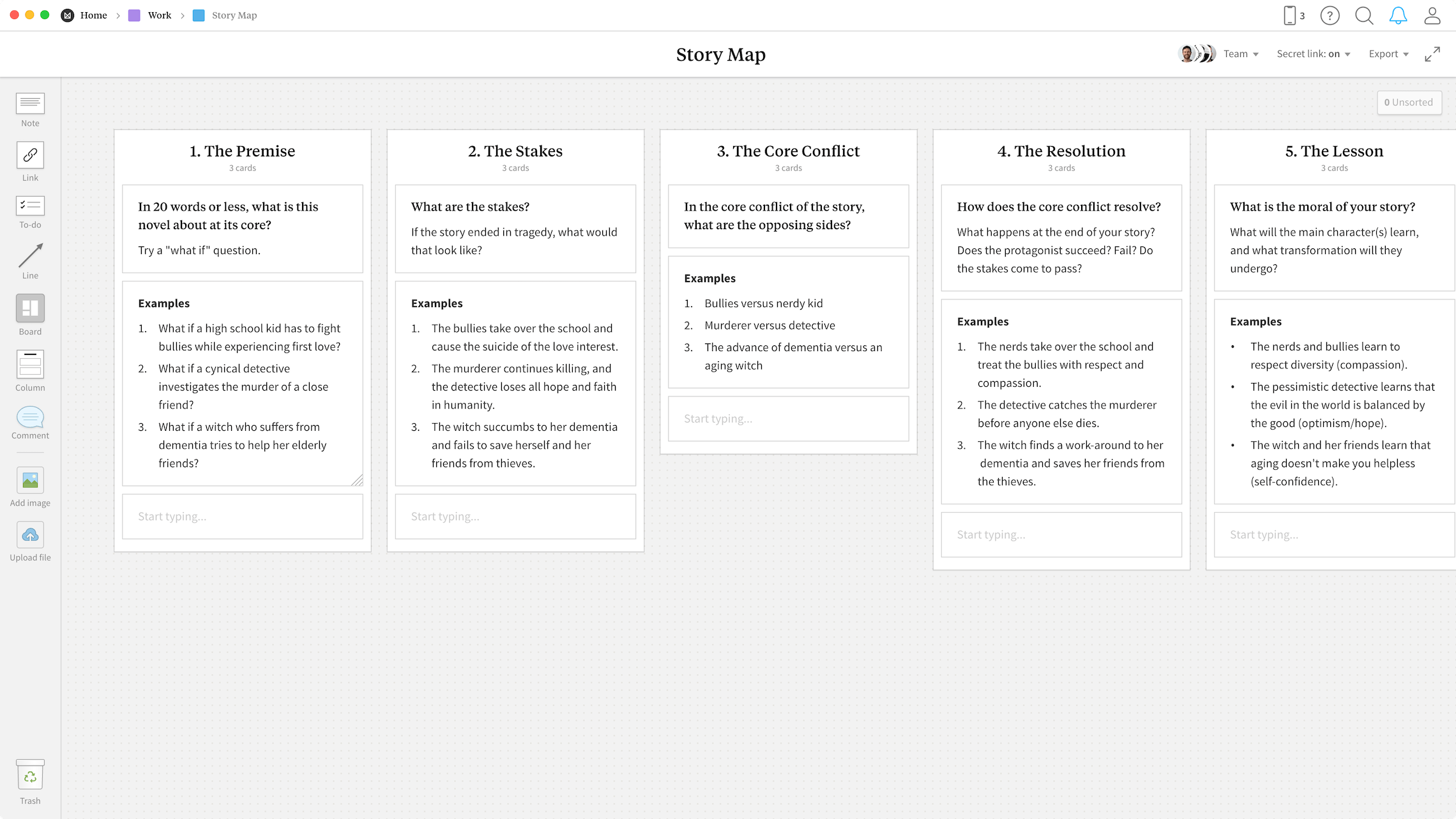 Story Map Template, within the Milanote app