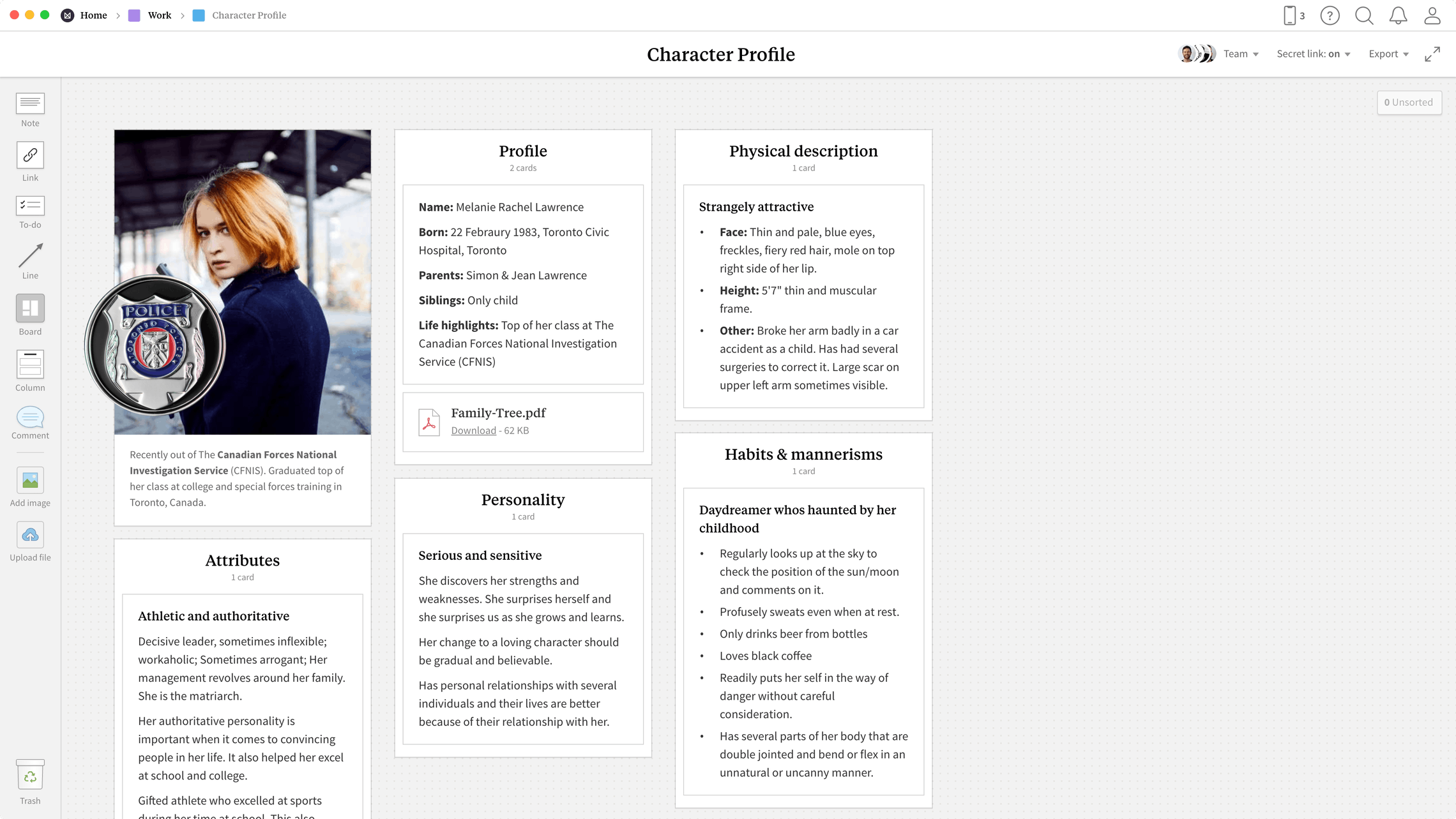 Character Profile Template, within the Milanote app