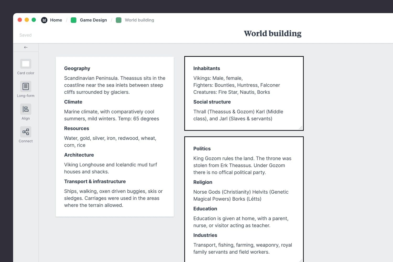 Game design worldbuilding describe the inhabitants