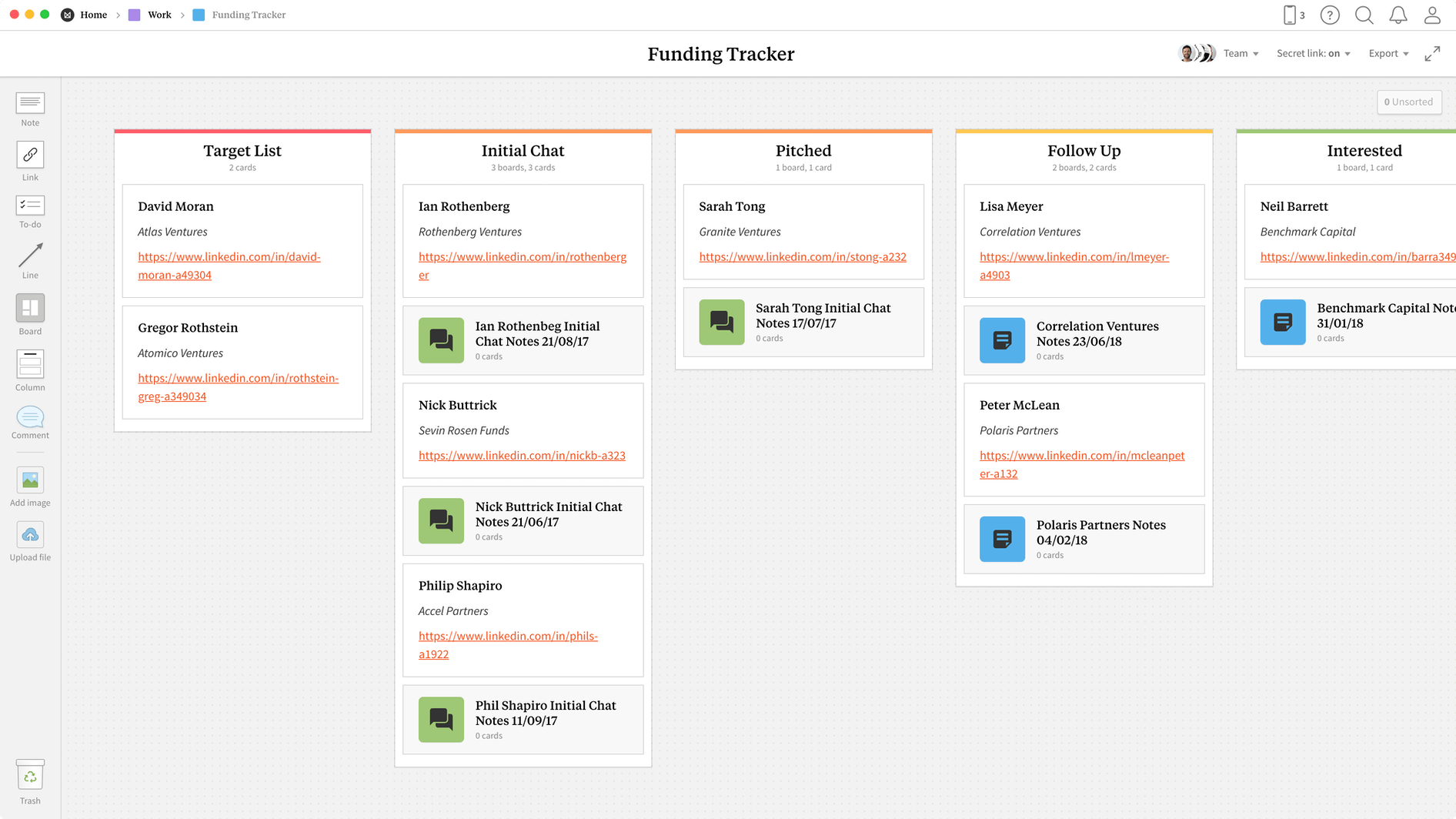 Funding Tracker Template, within the Milanote app