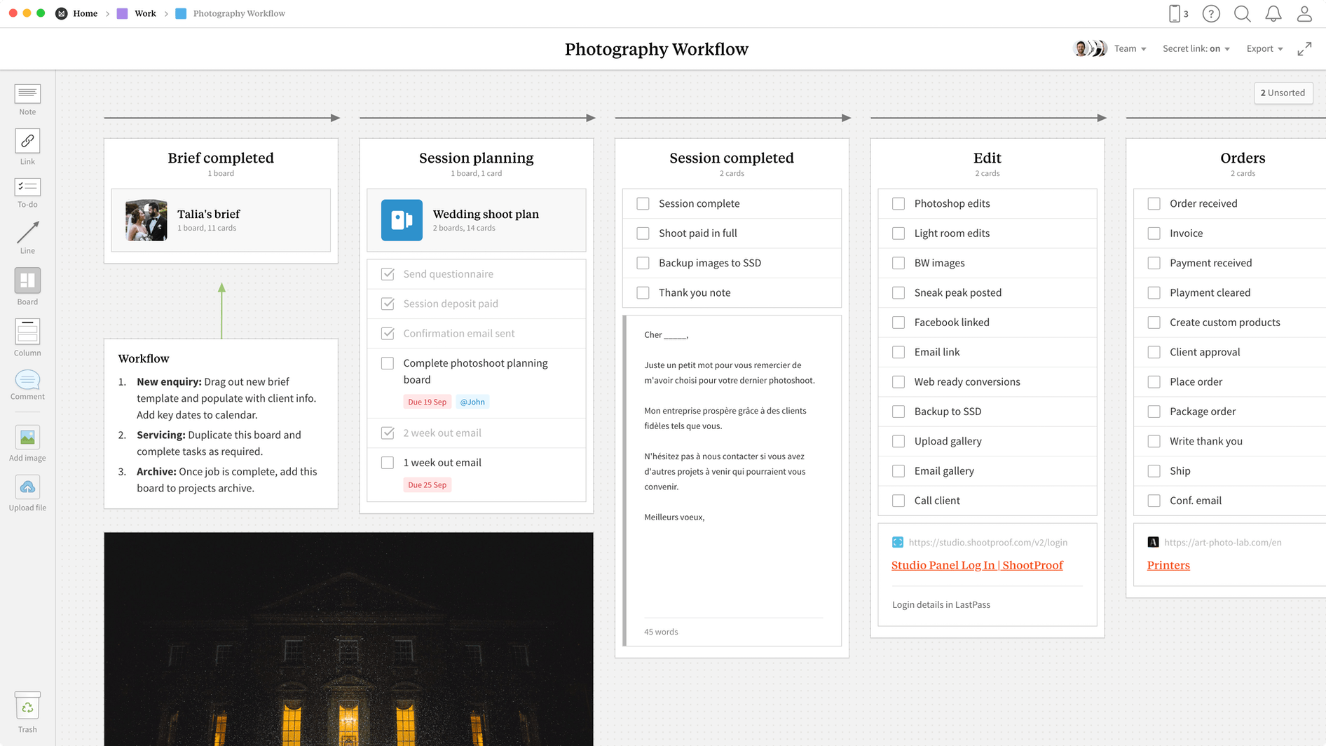 Photography Workflow Template, within the Milanote app