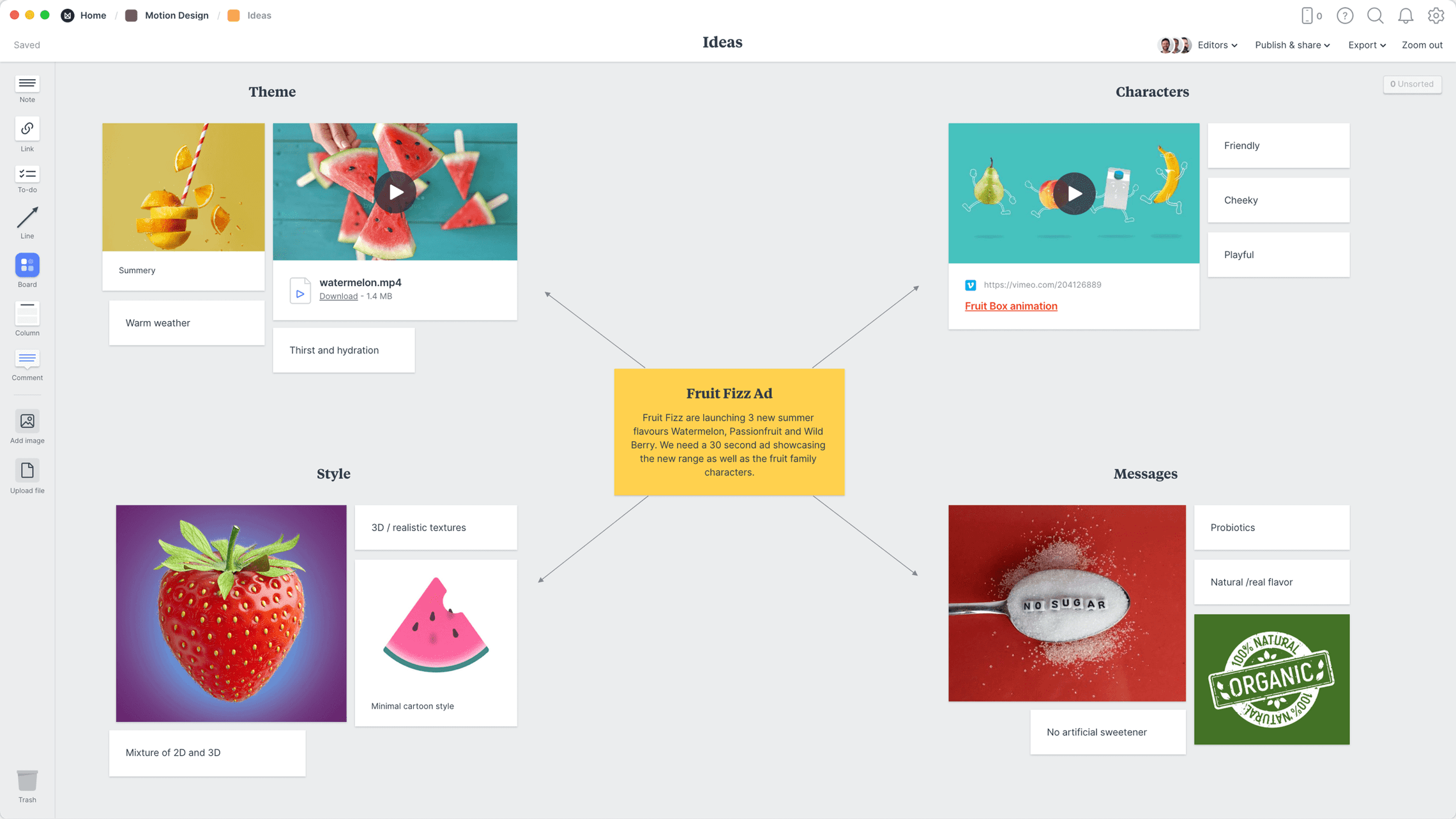 Motion Design Brainstorming Template, within the Milanote app