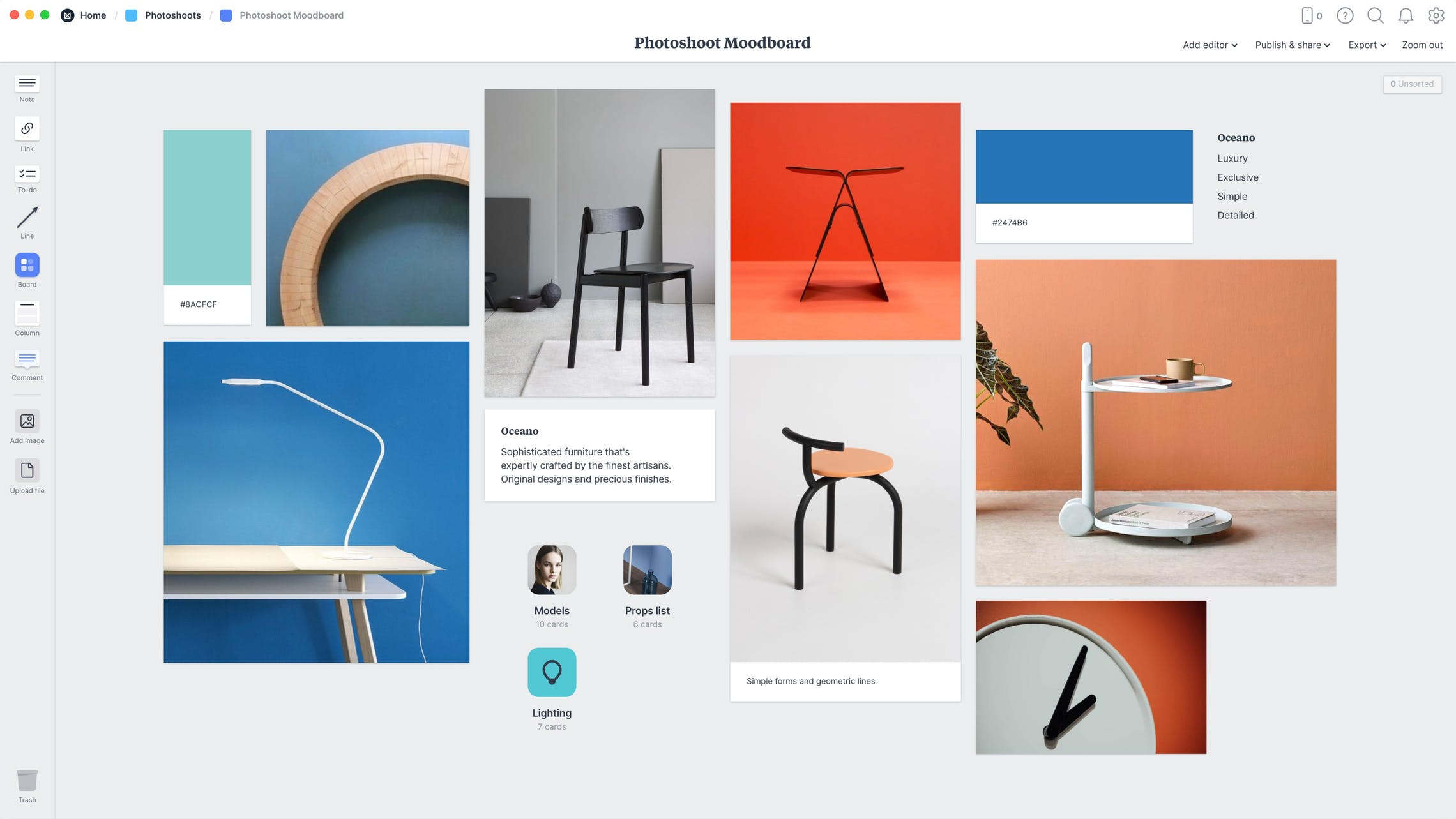 Photography Moodboard Template, within the Milanote app