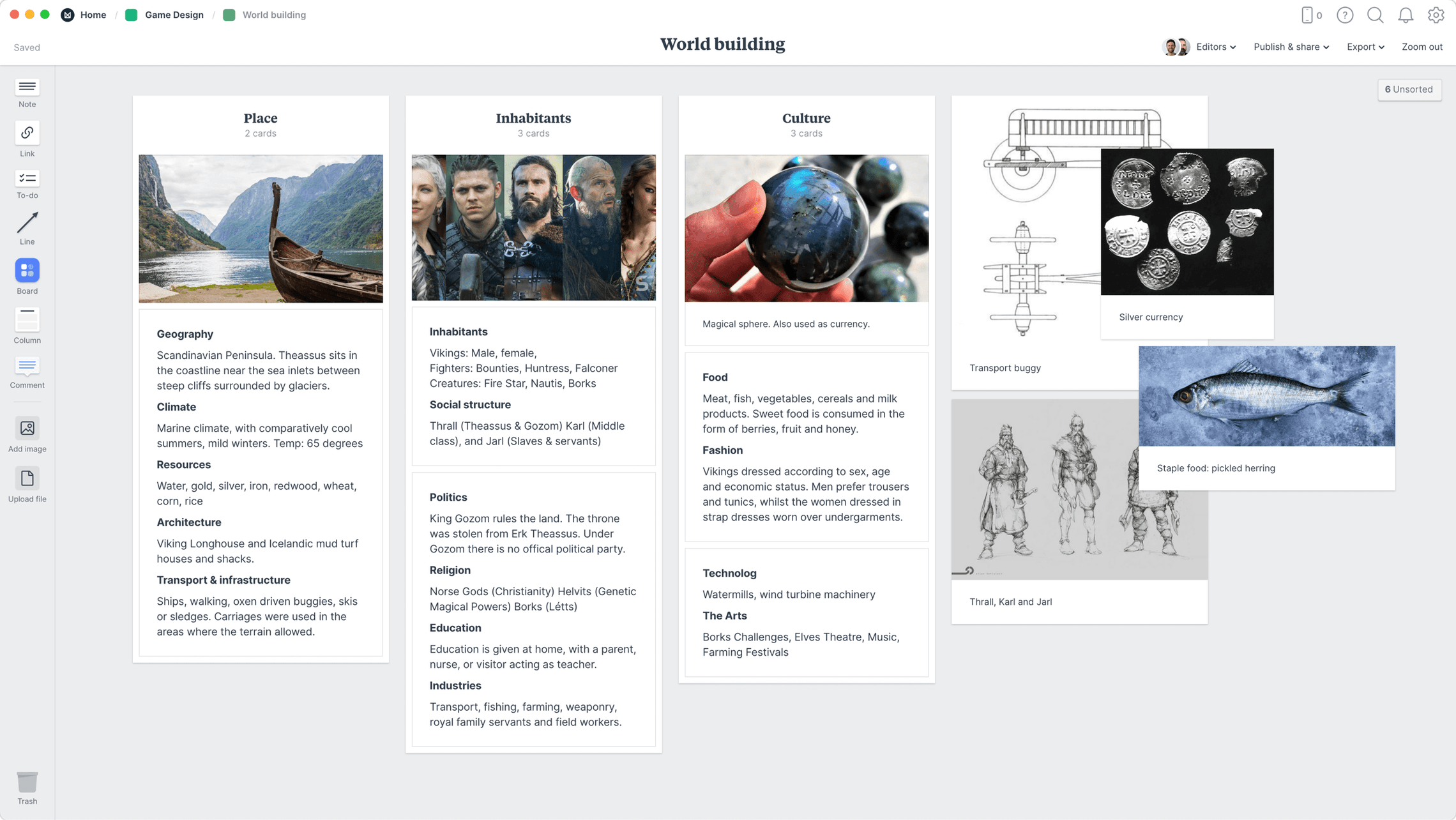 Game Worldbuilding  Template, within the Milanote app
