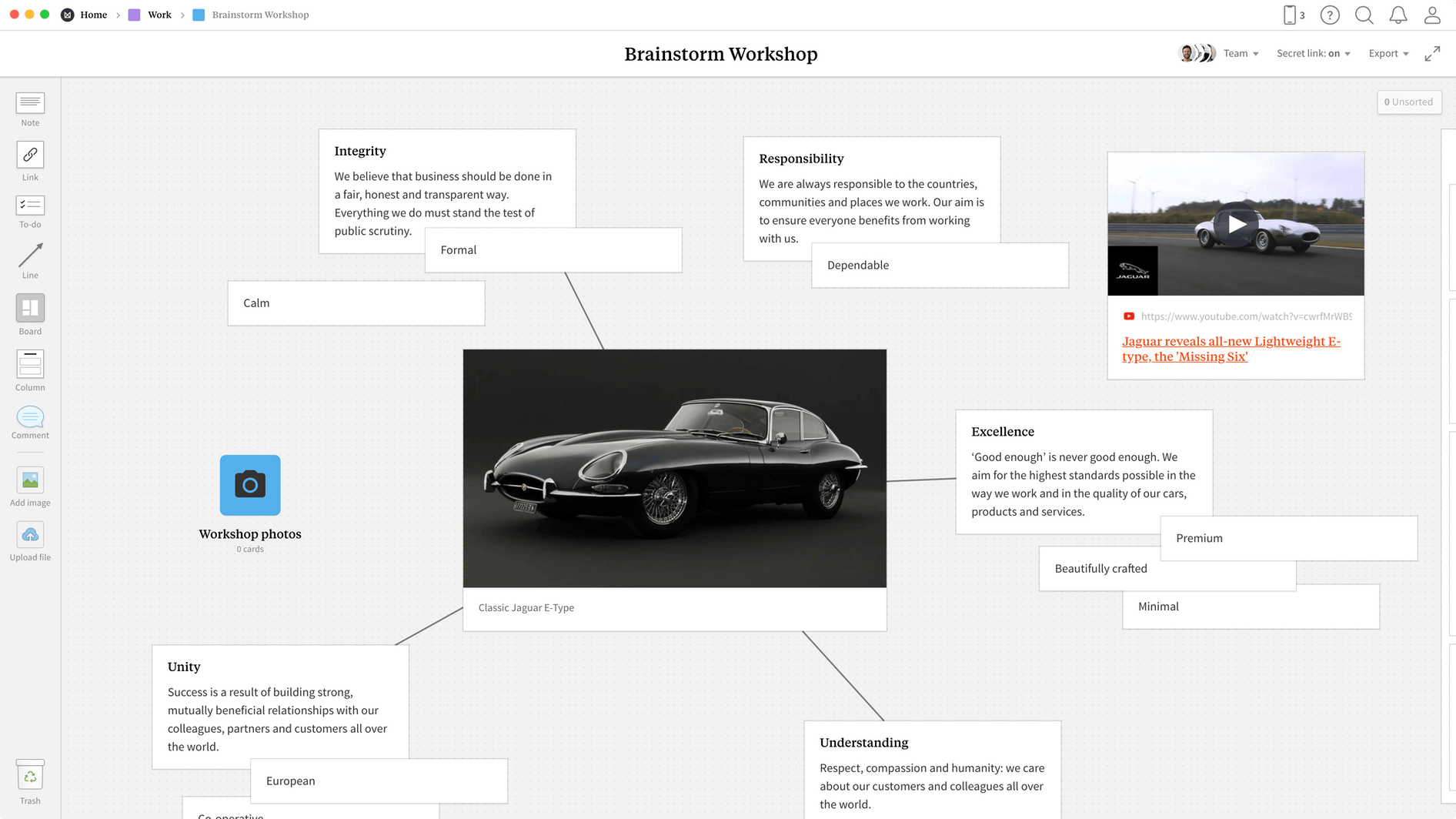 Brainstorming Template, within the Milanote app