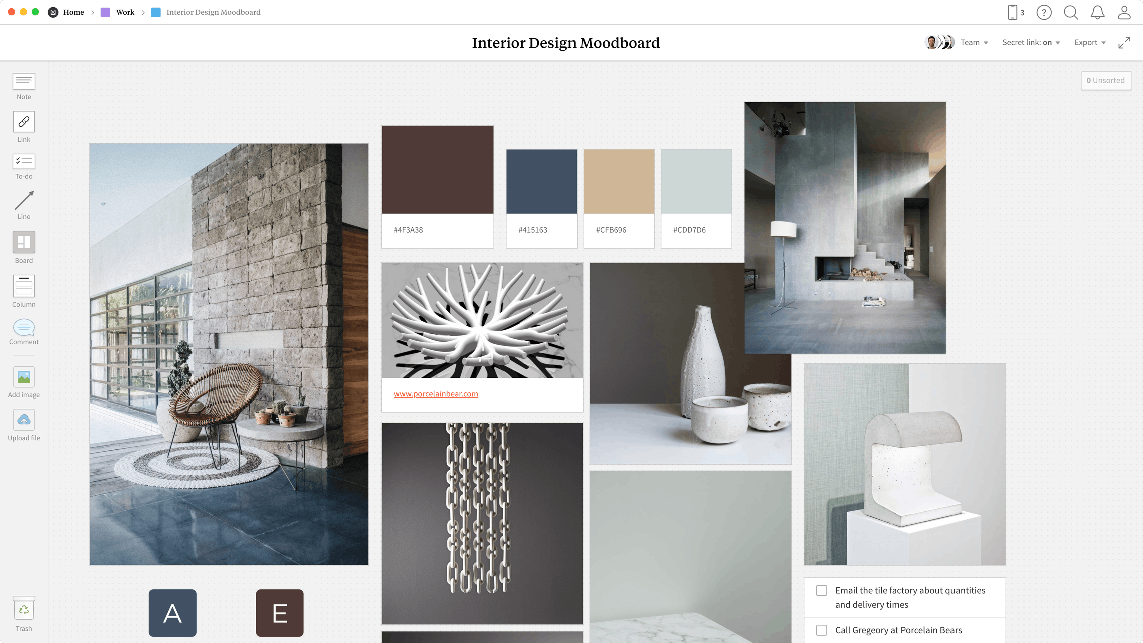Interior Design Moodboard Template, within the Milanote app