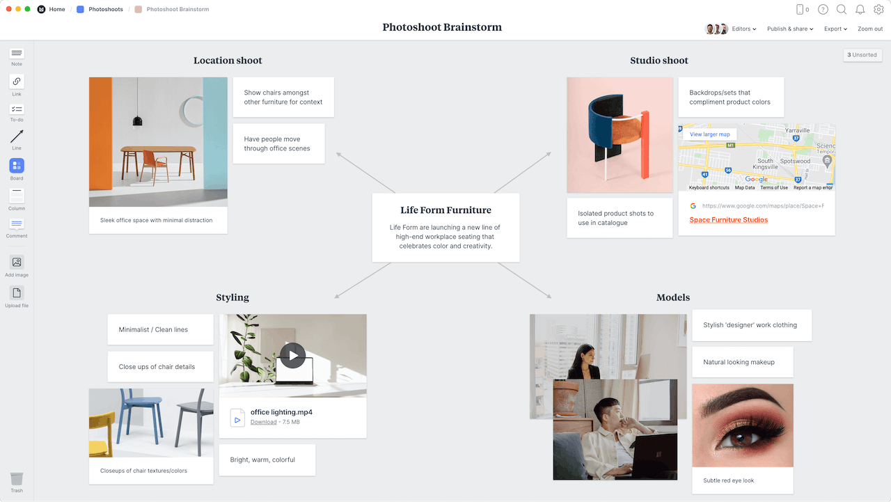 Photoshoot brainstorming example template