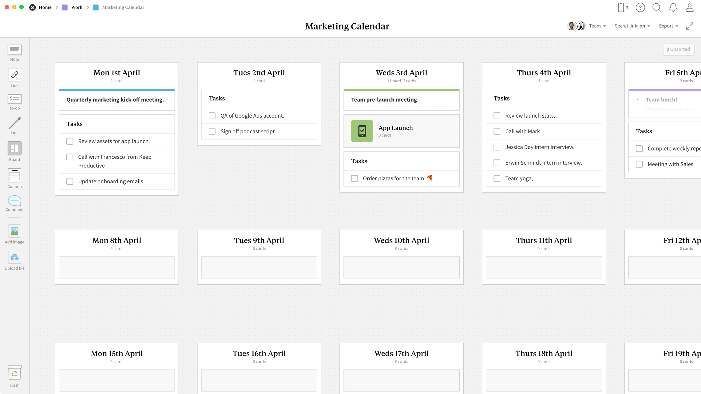 Marketing Calendar Template, within the Milanote app