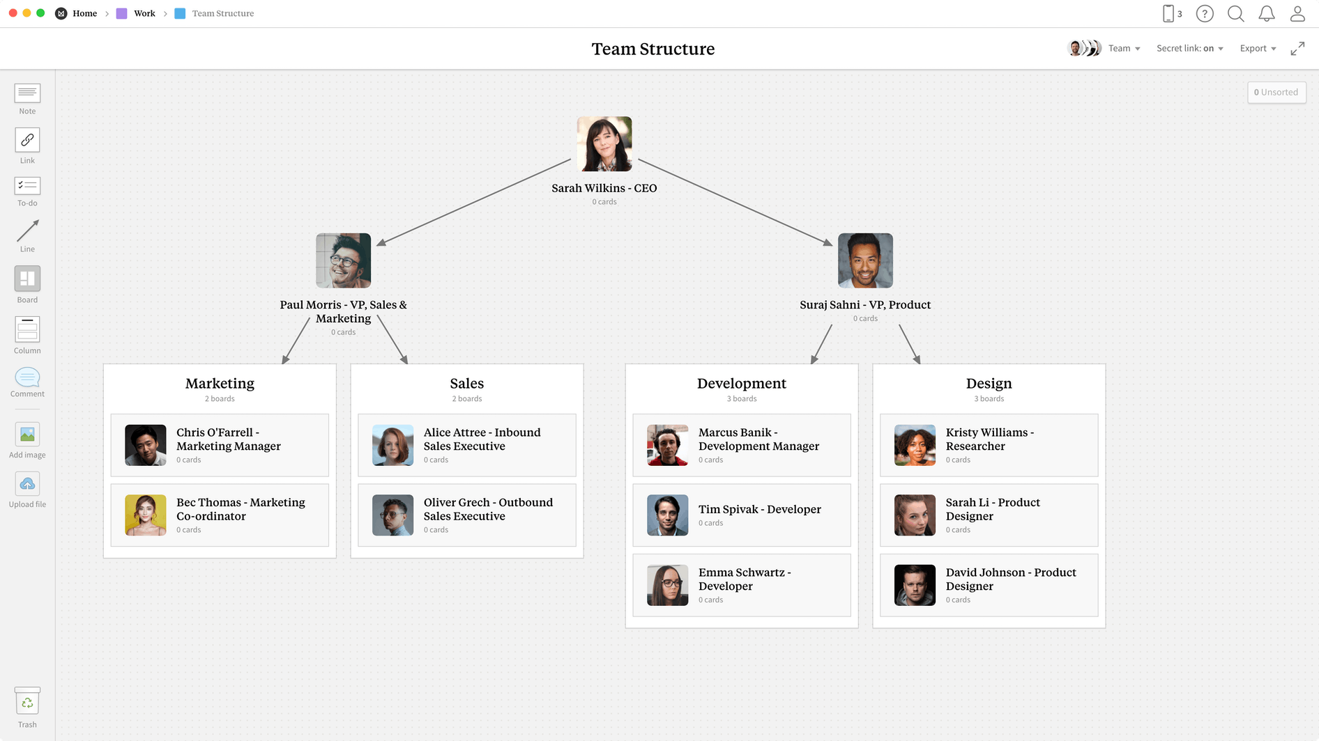 Team Structure Template, within the Milanote app