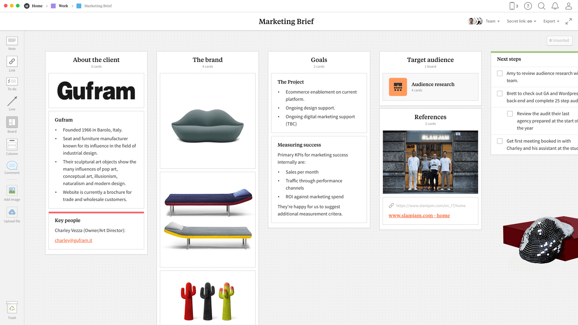 Marketing Brief Template, within the Milanote app