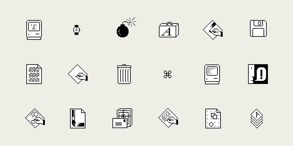 Iconos de Susan Kare para la primera Mac