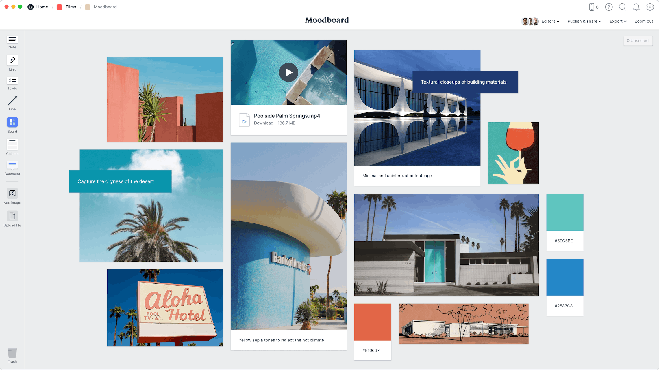 Film Moodboard Template, within the Milanote app
