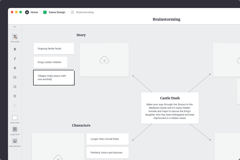 Game design brainstorming template adding ideas