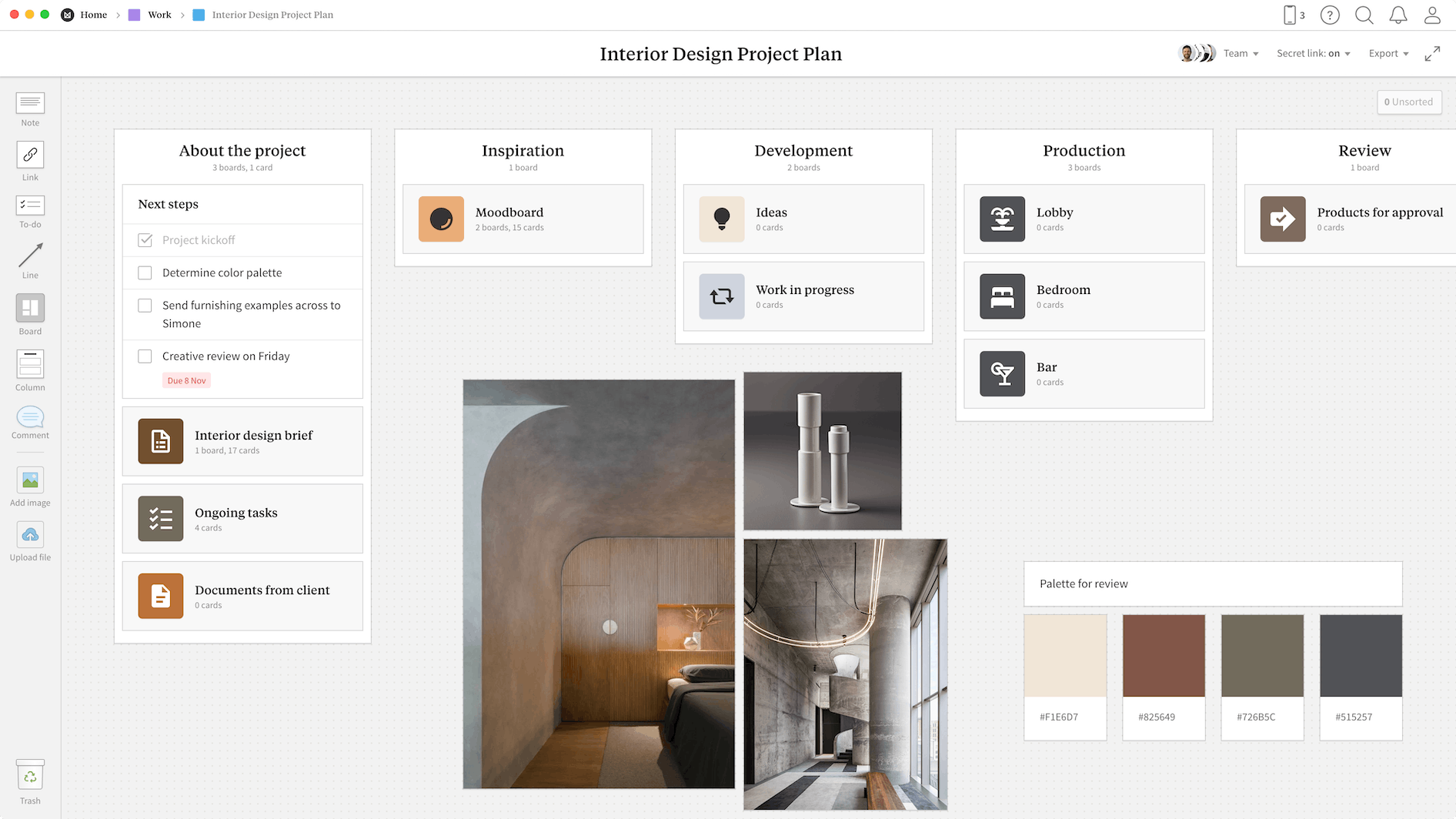Interior Design Project Plan Template, within the Milanote app