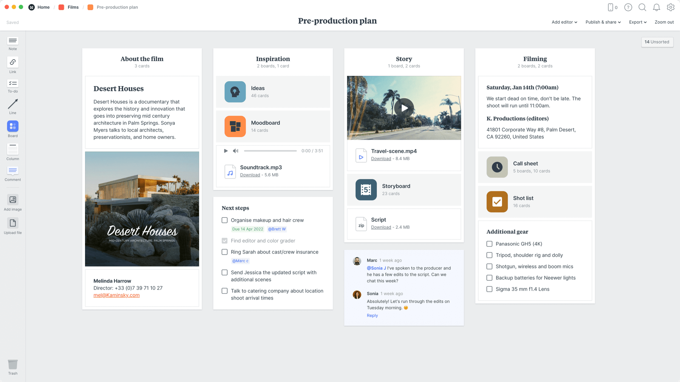 Film Pre-production Template, within the Milanote app