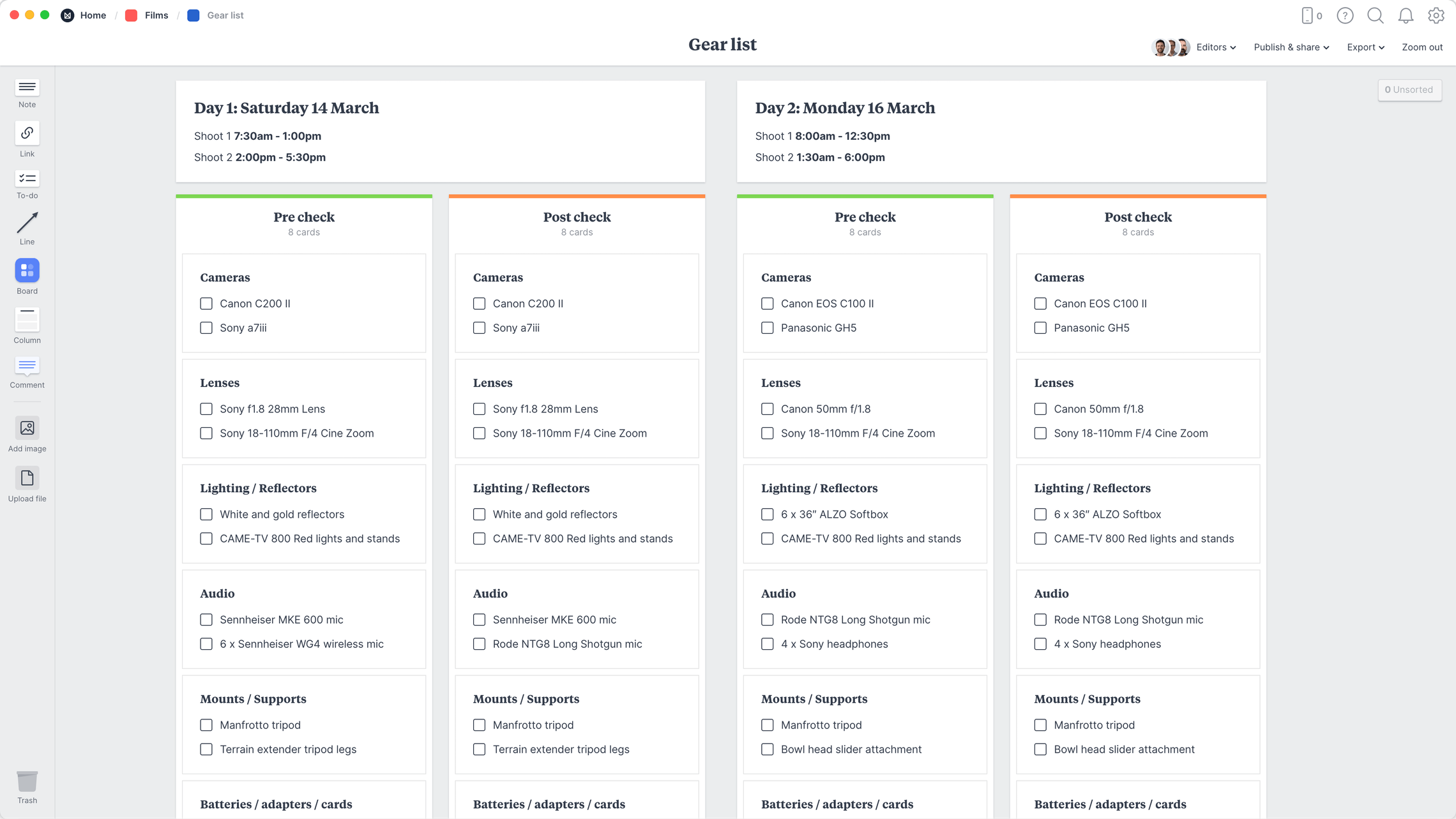 Film Equipment Checklist Template, within the Milanote app