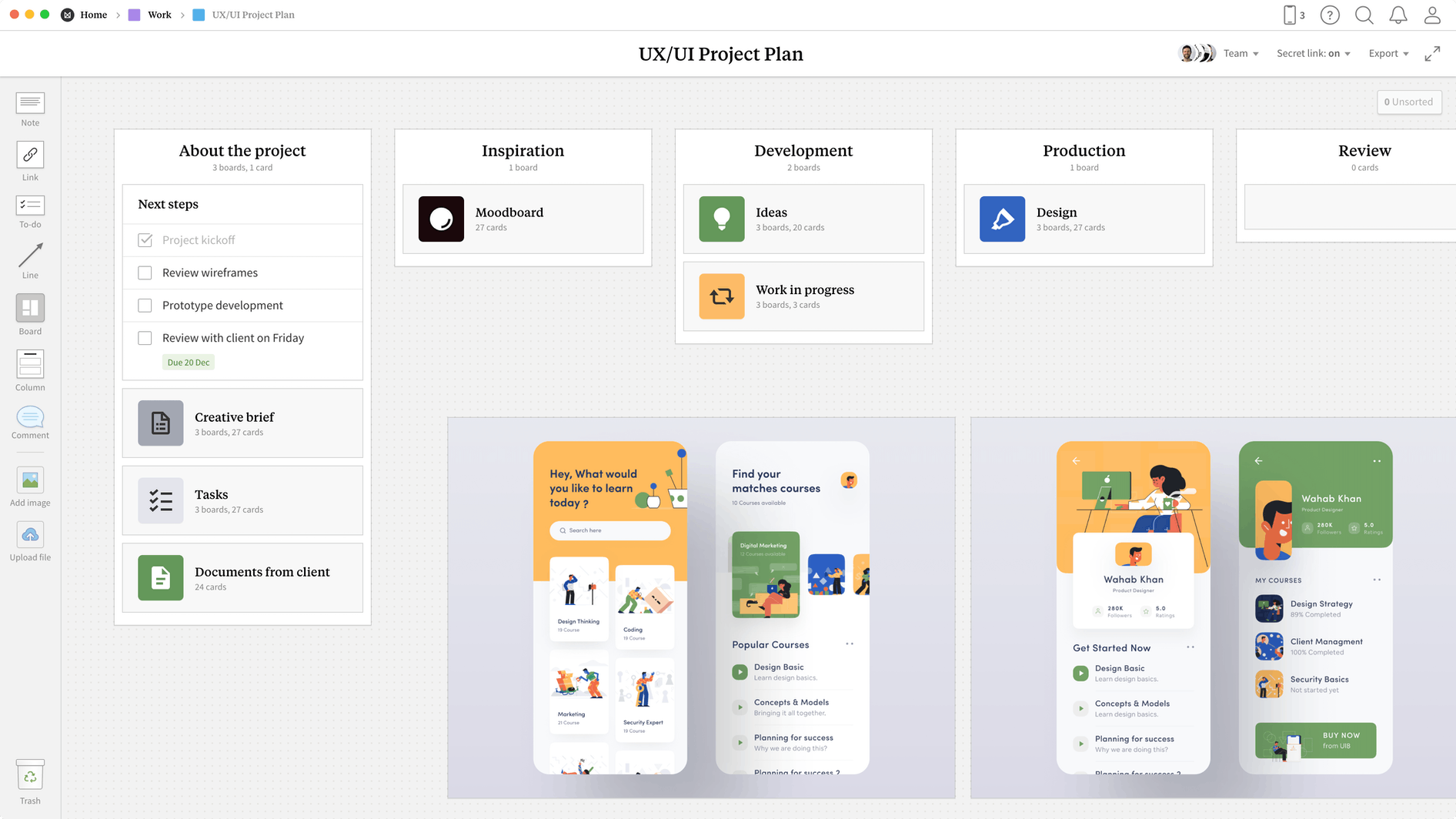UX/UI Project Plan Template, within the Milanote app