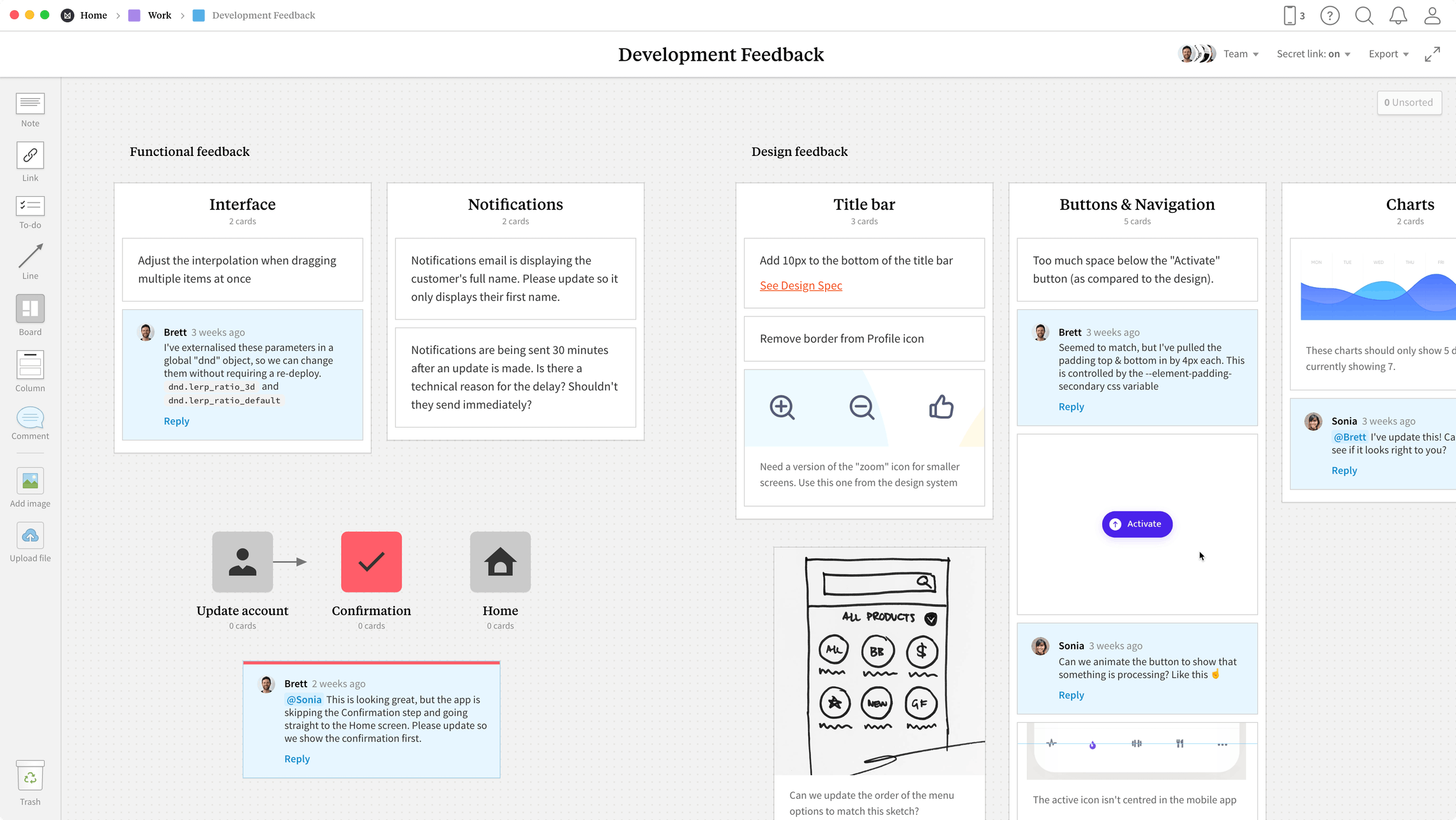 Development Feedback Template, within the Milanote app