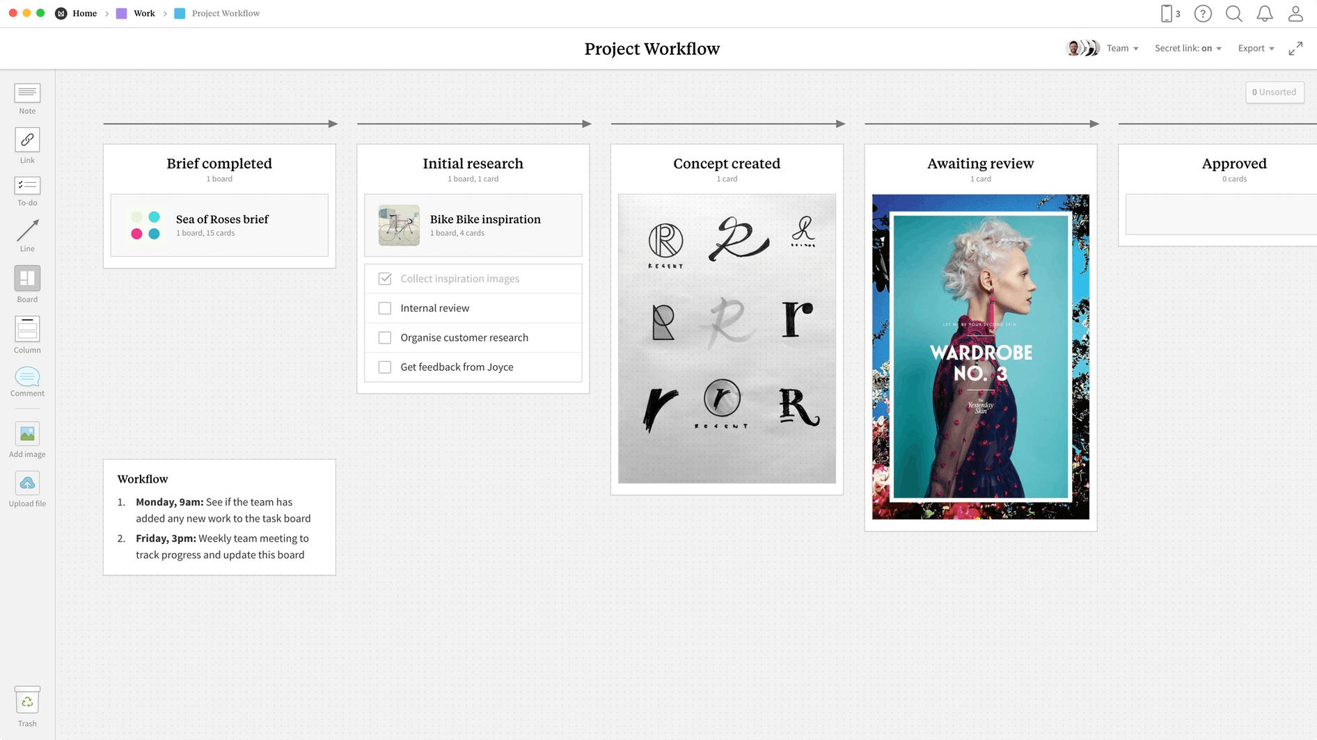 Project Workflow Template, within the Milanote app