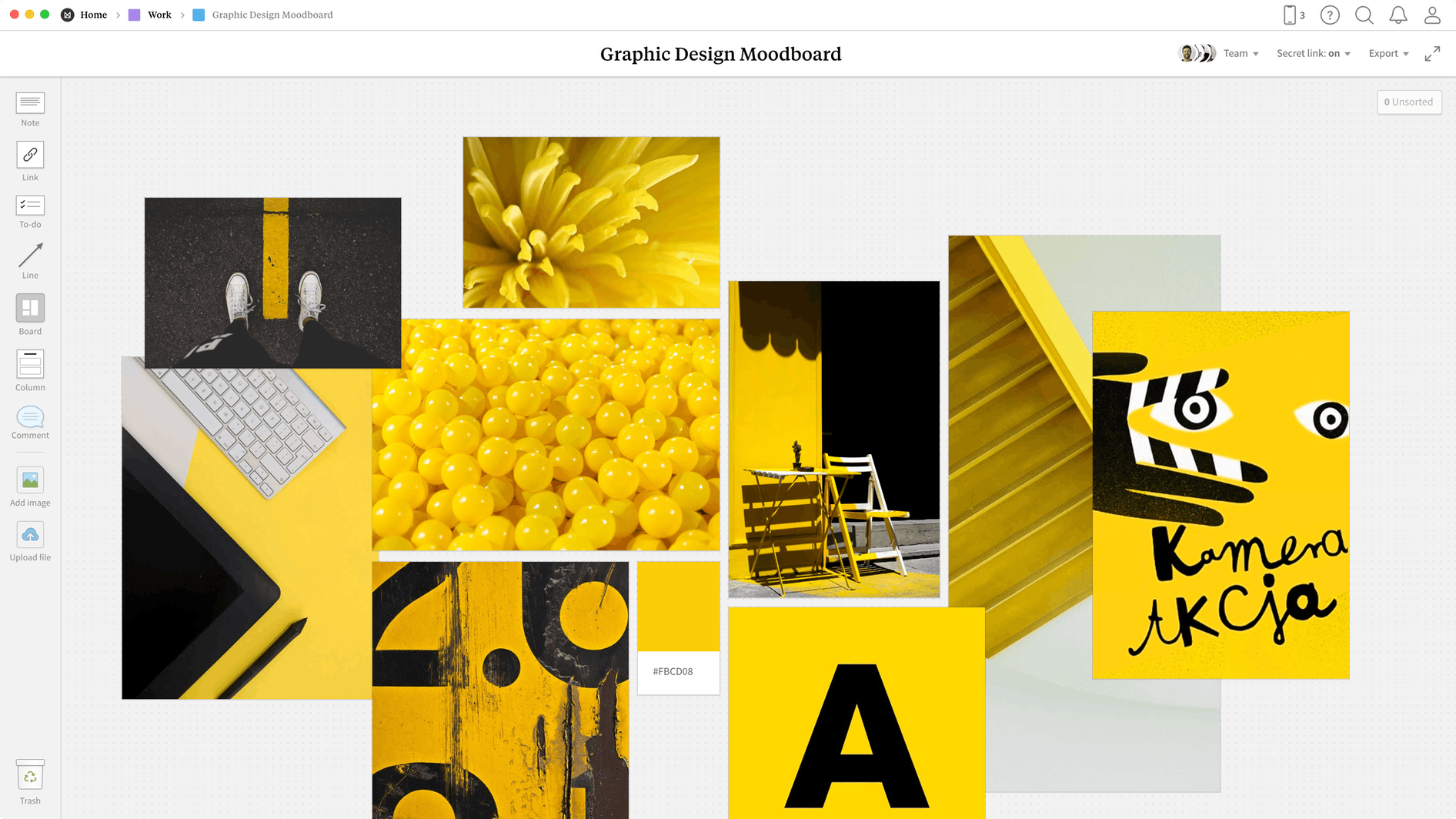 Graphic Design Moodboard Template, within the Milanote app