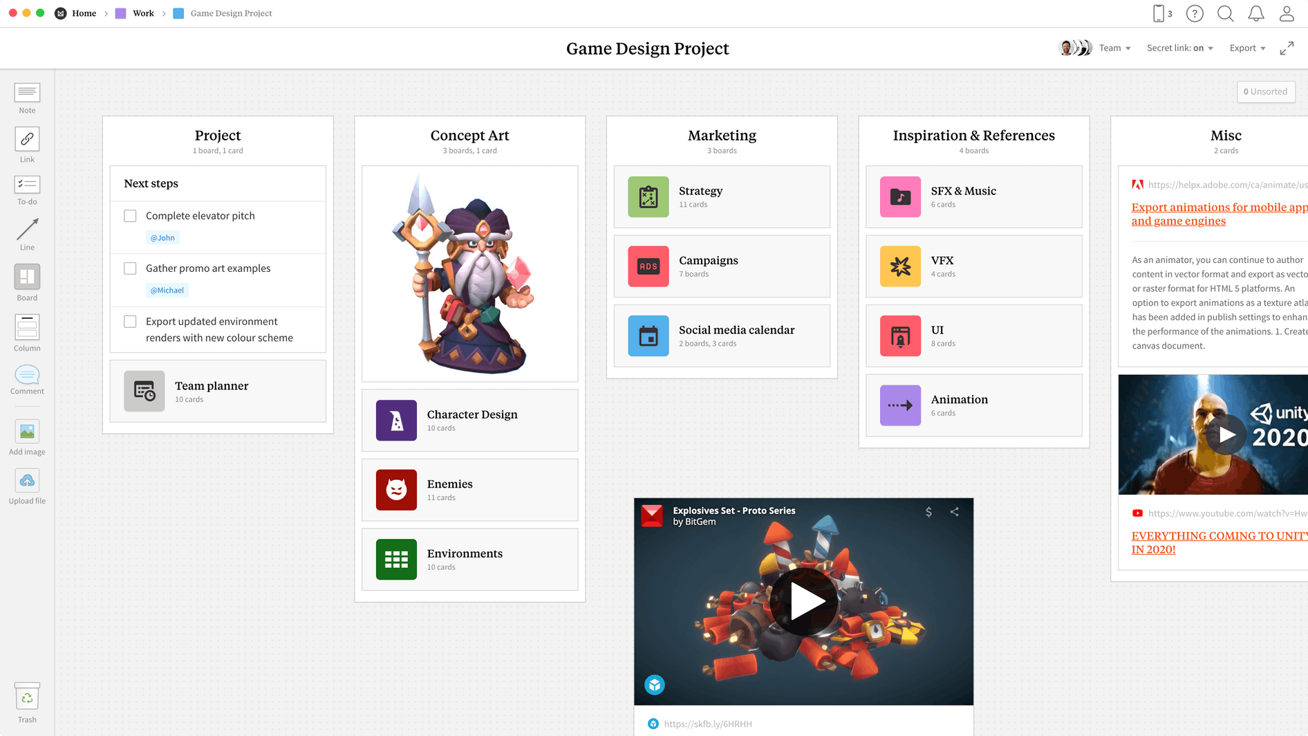 Game Design Project Template, within the Milanote app