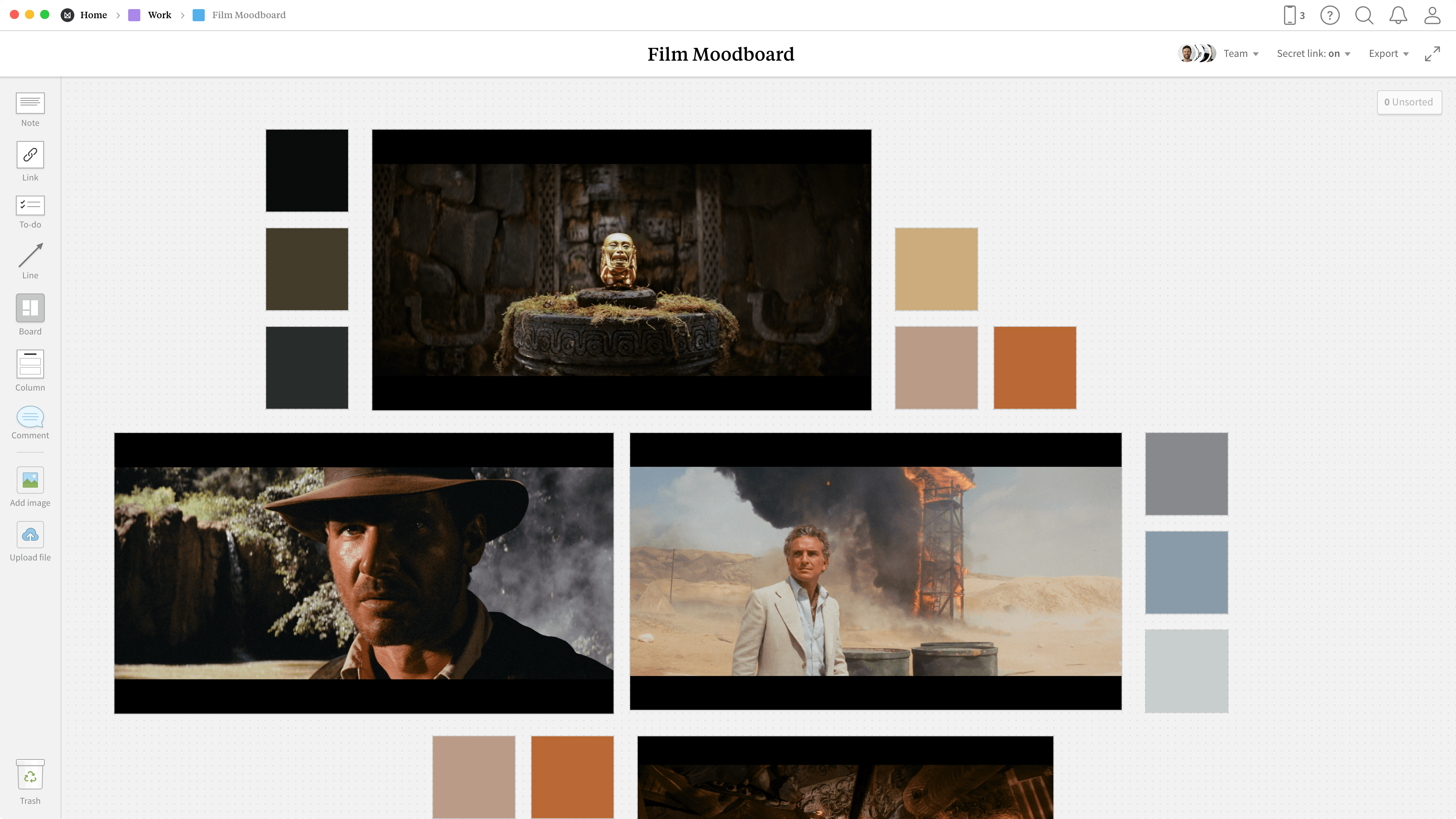 Completed Filmmaking moodboard template in Milanote app