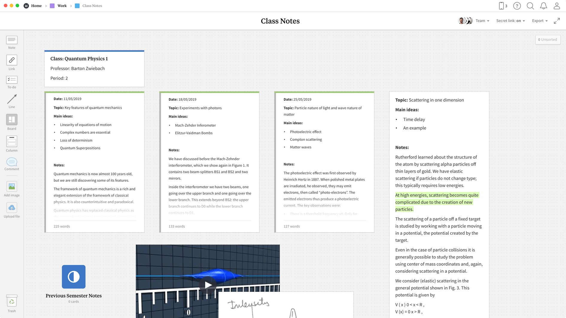 Class Notes Template, within the Milanote app