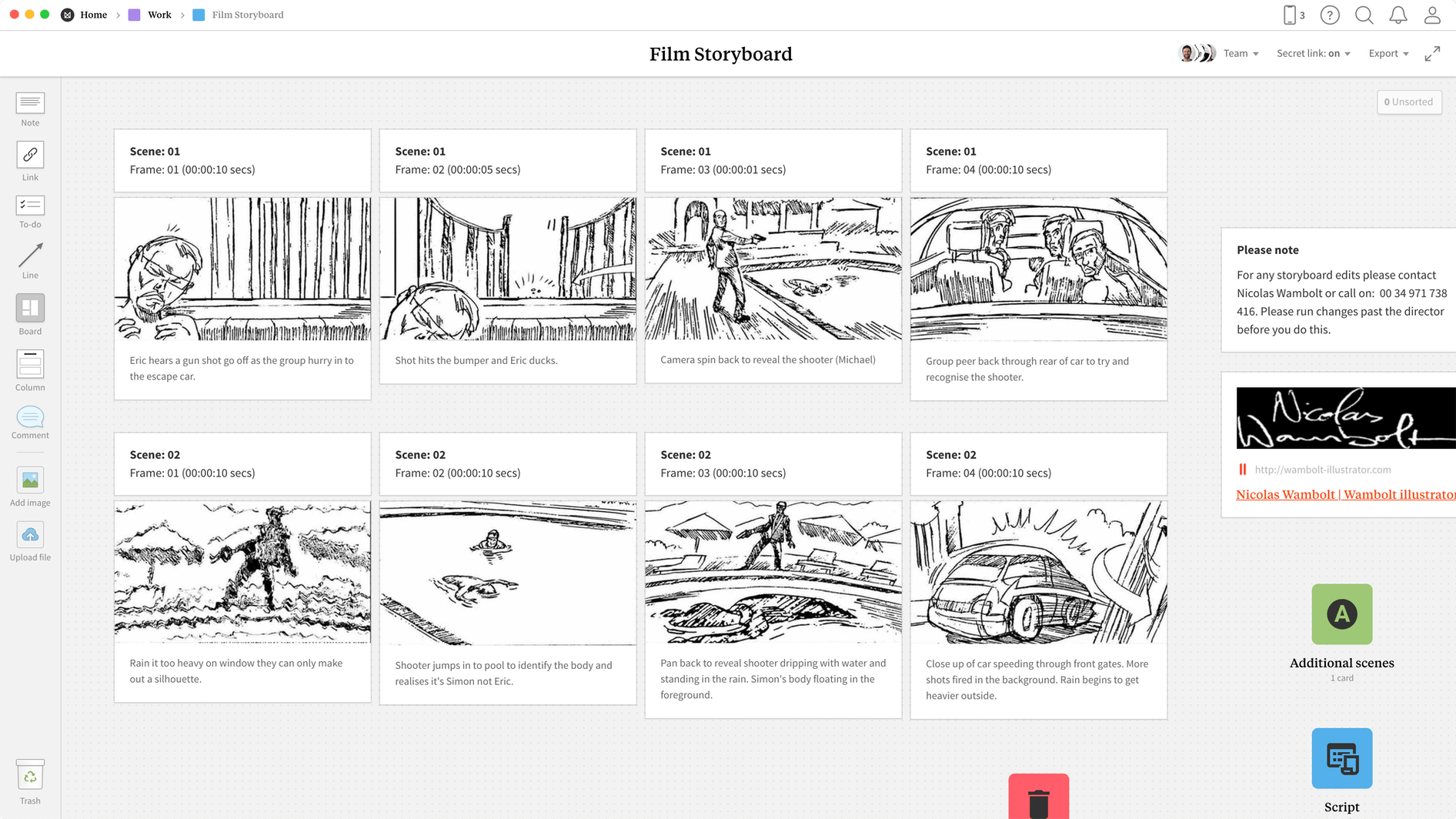 Filmmaking Storyboard Template, within the Milanote app