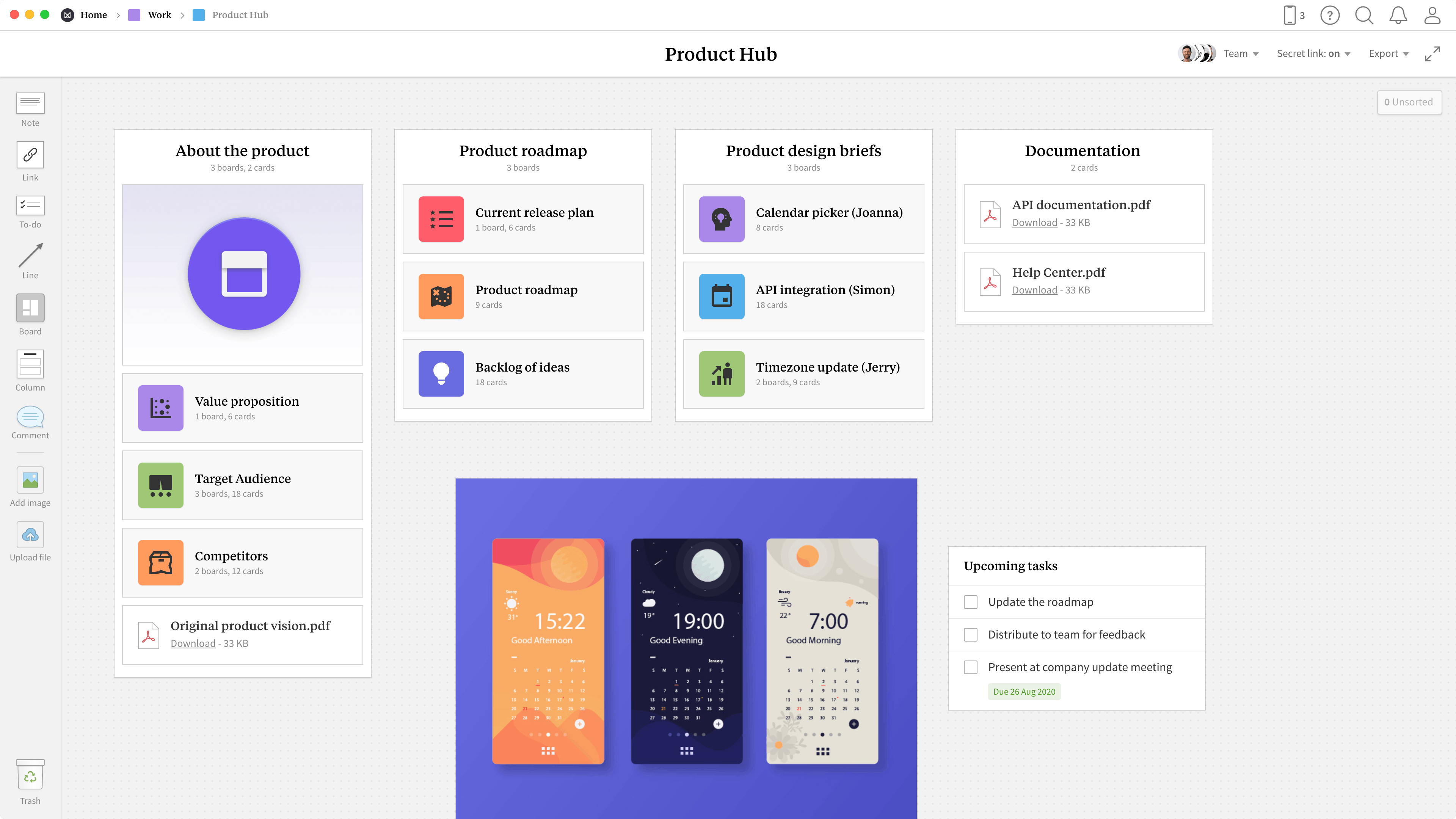 Completed Product Hub template in Milanote app