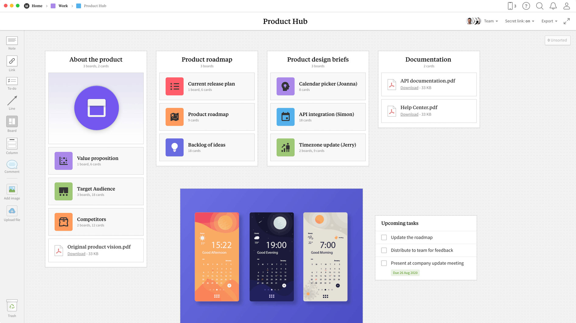 Product Hub Template, within the Milanote app