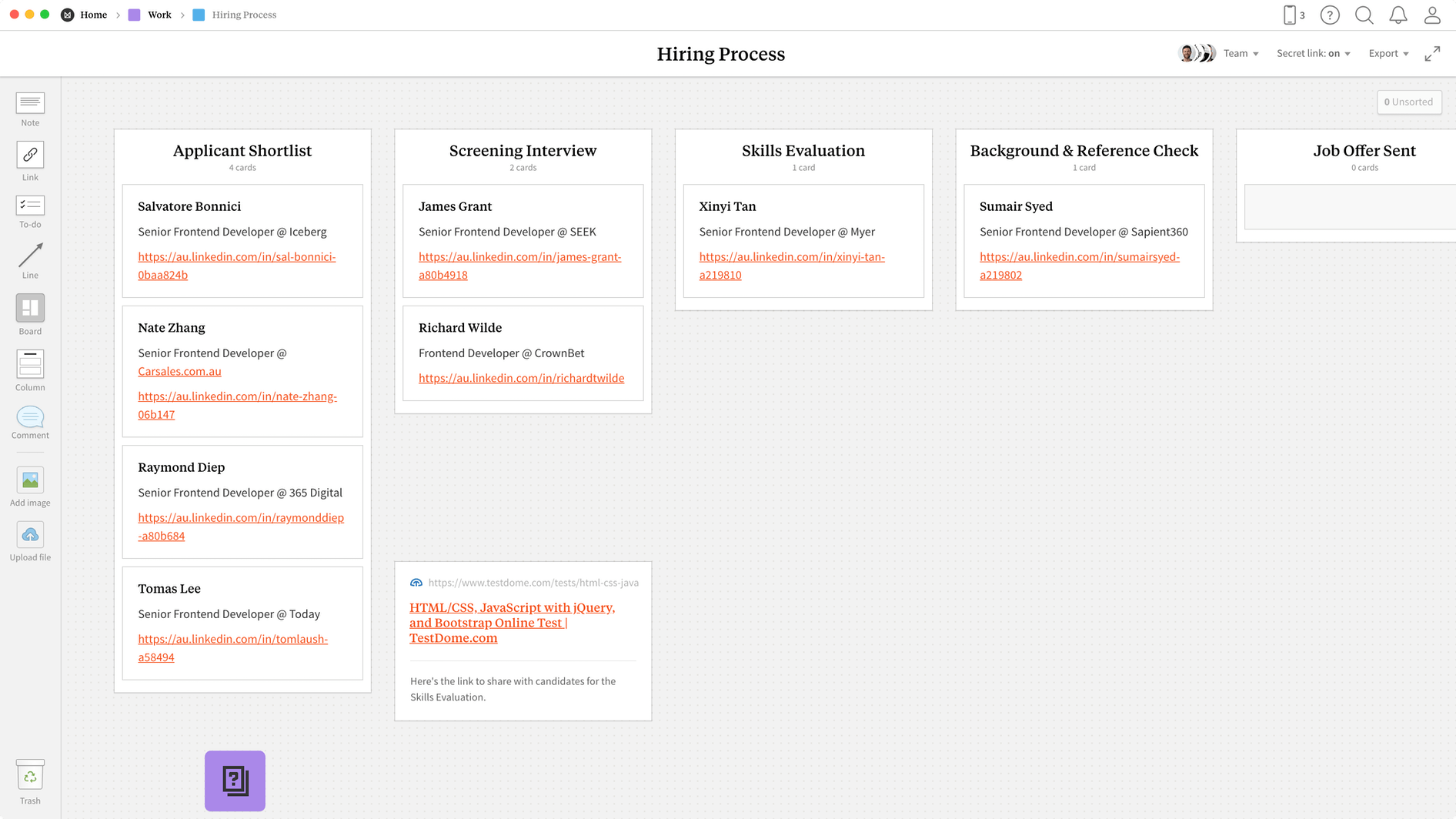 Hiring Process Template, within the Milanote app