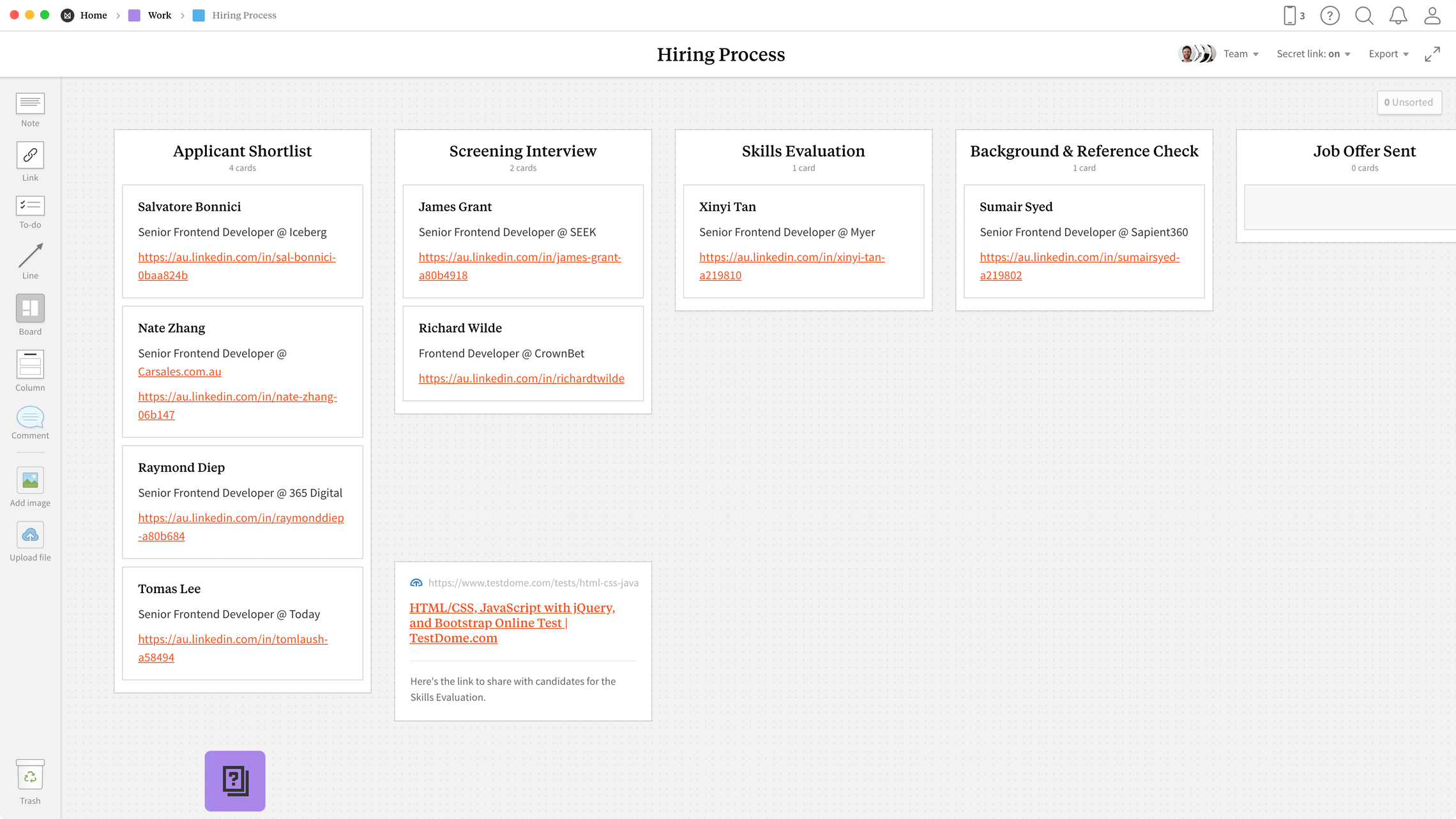 Hiring Process Template Example Milanote