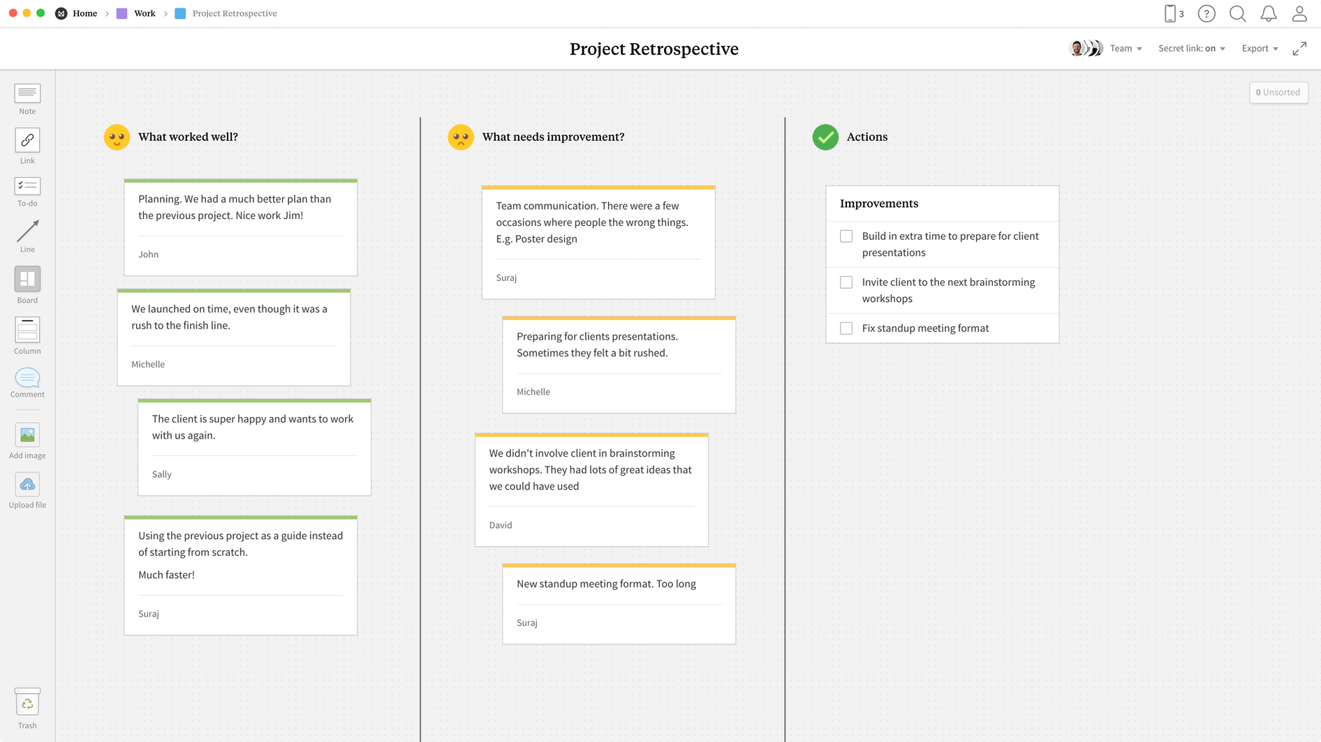 Project Retrospective Template, within the Milanote app