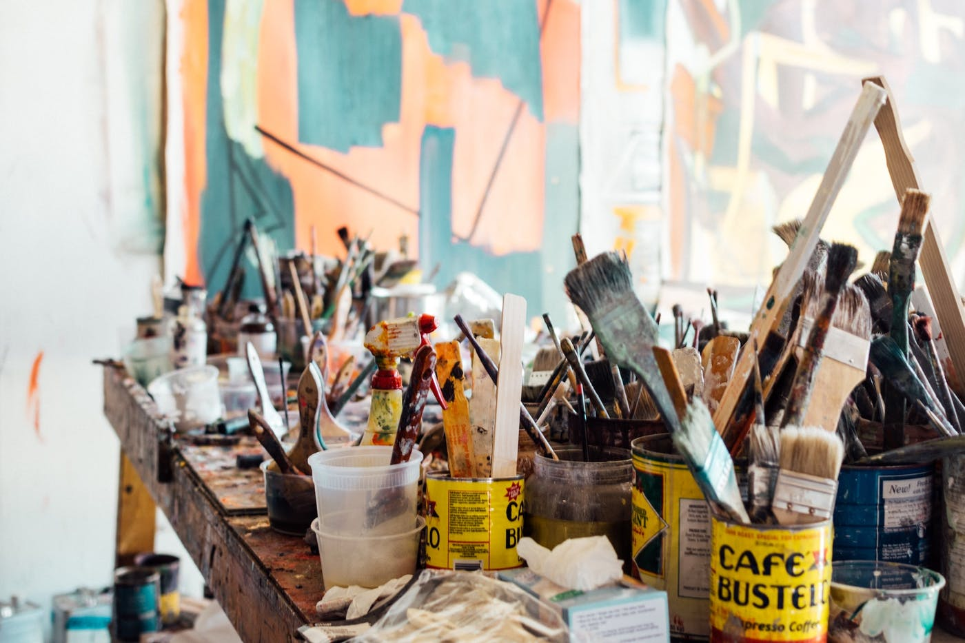 Paintbrushes in a workspace