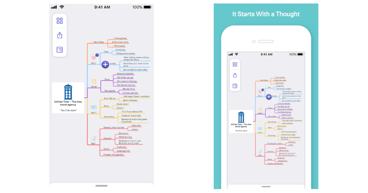 Comparison of screenshots of MindNode