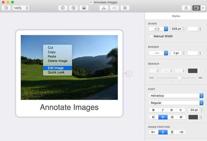 Annotate images in MindNode