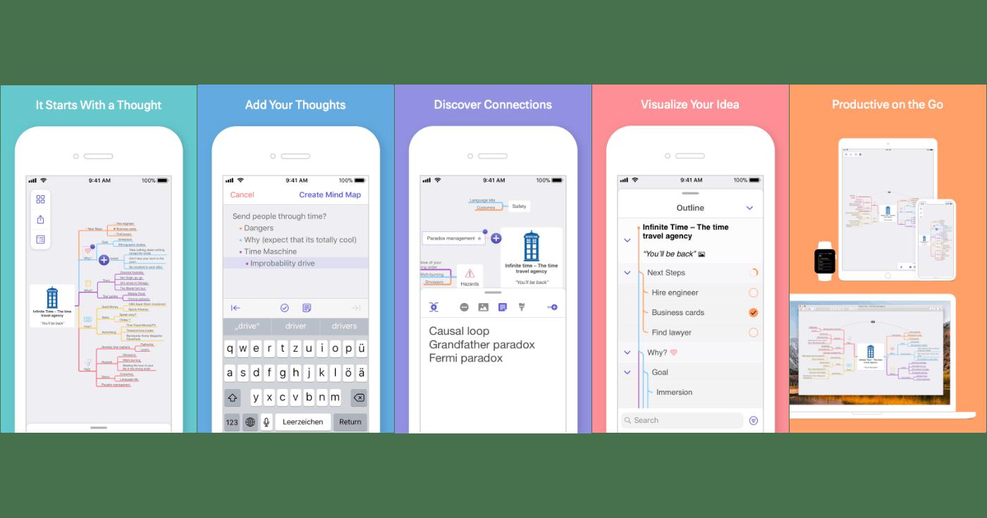 MindNode App Store screenshots using screenshotframer