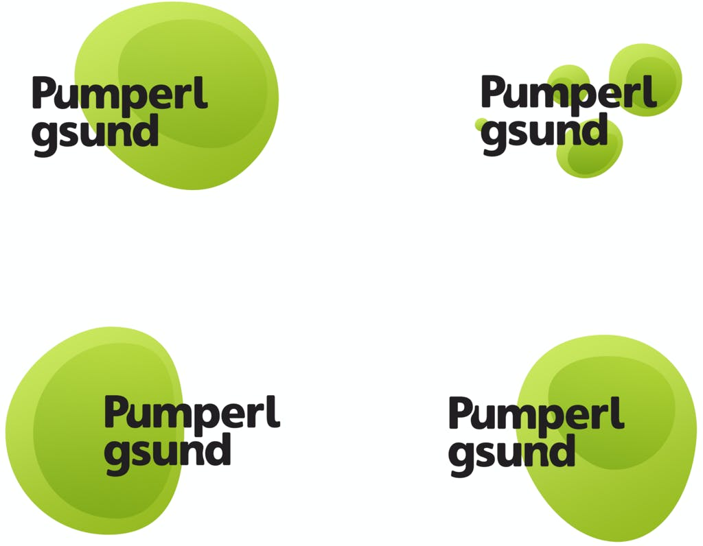 Different logo versions for Pumperlgsund branding and visual identity, green circles, white background, black brand name