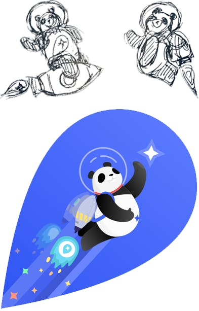 Digital design of Mapbox panda brand mascot shooting into space with rocket on the back next to pencil drawings of two pandas
