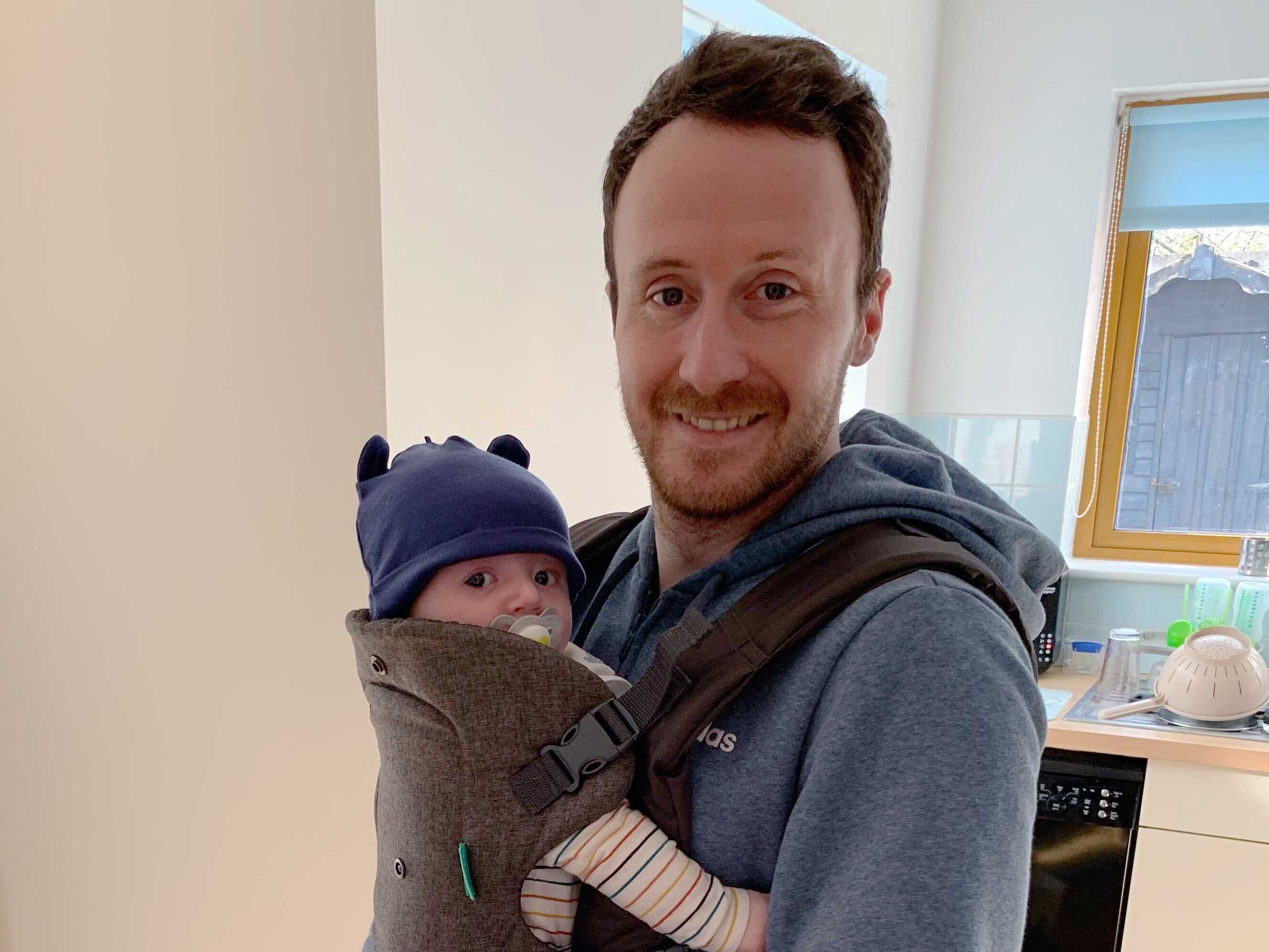 Andy with his newborn son, Matthew.