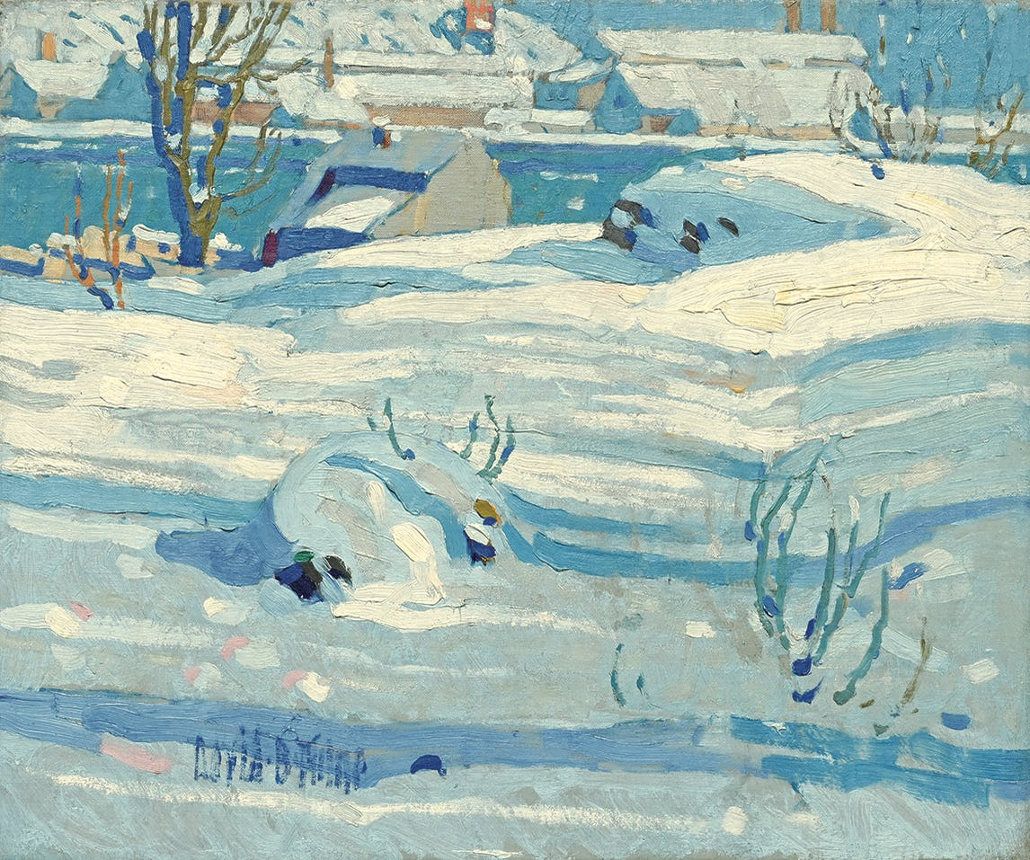 snow shadows (detail) by david milne