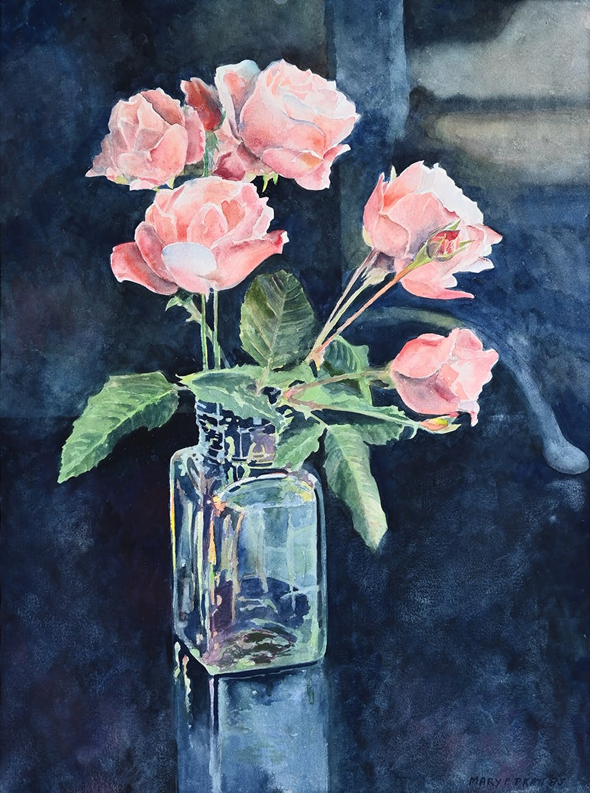 Roses in a Clear Vase by Mary Pratt