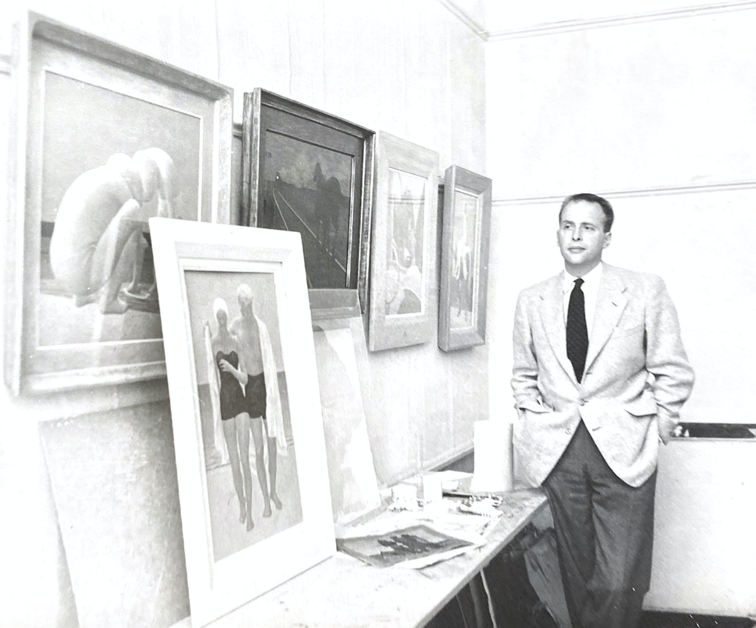 alex colville in his office, owens art gallery, sackville NB c. 1955
