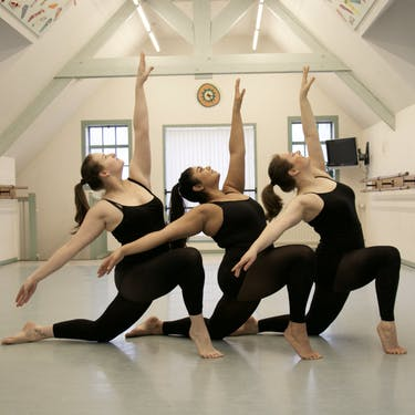 Dansers uit de presentatiegroepen. Er worden leerlingen uit Hazerswoude en Alphen aan den Rijn door de docenten geselecteerd voor de juniorklassen en presentatiegroepen.