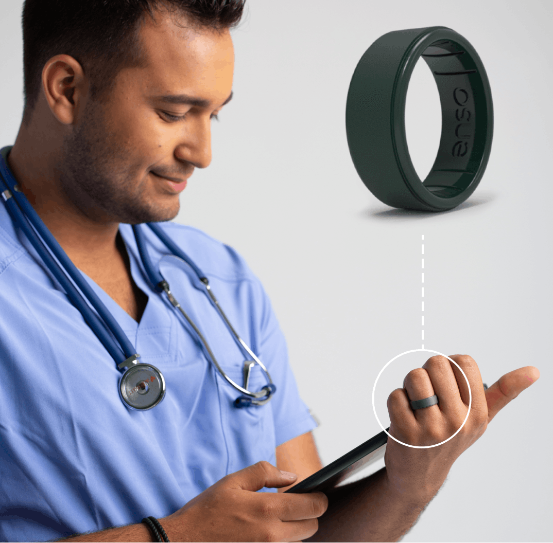 Enso's silicone rings are infused with SteriTouch technology.