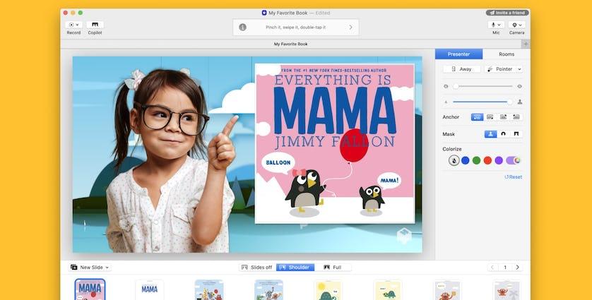 mmhmm で 「Everything is Mama」という本を読む少女のスクリーンショット
