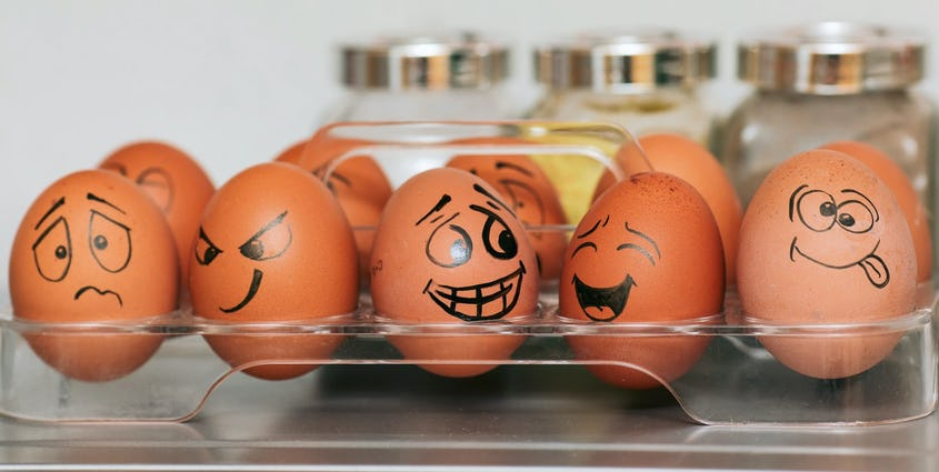 Picture of eggs with funny faces